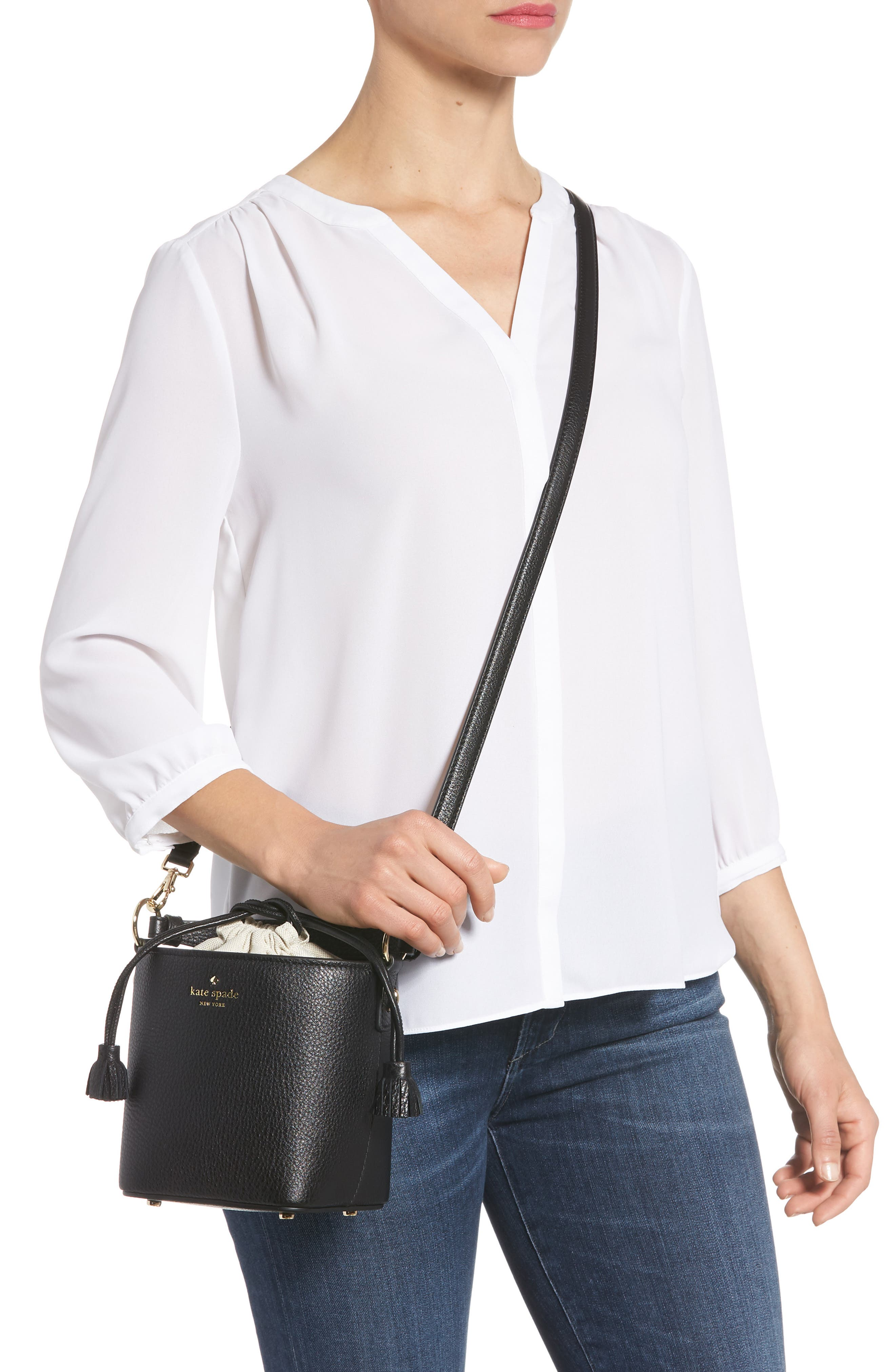 hayes street - pippa leather bucket bag,                             Alternate thumbnail 2, color,                             001