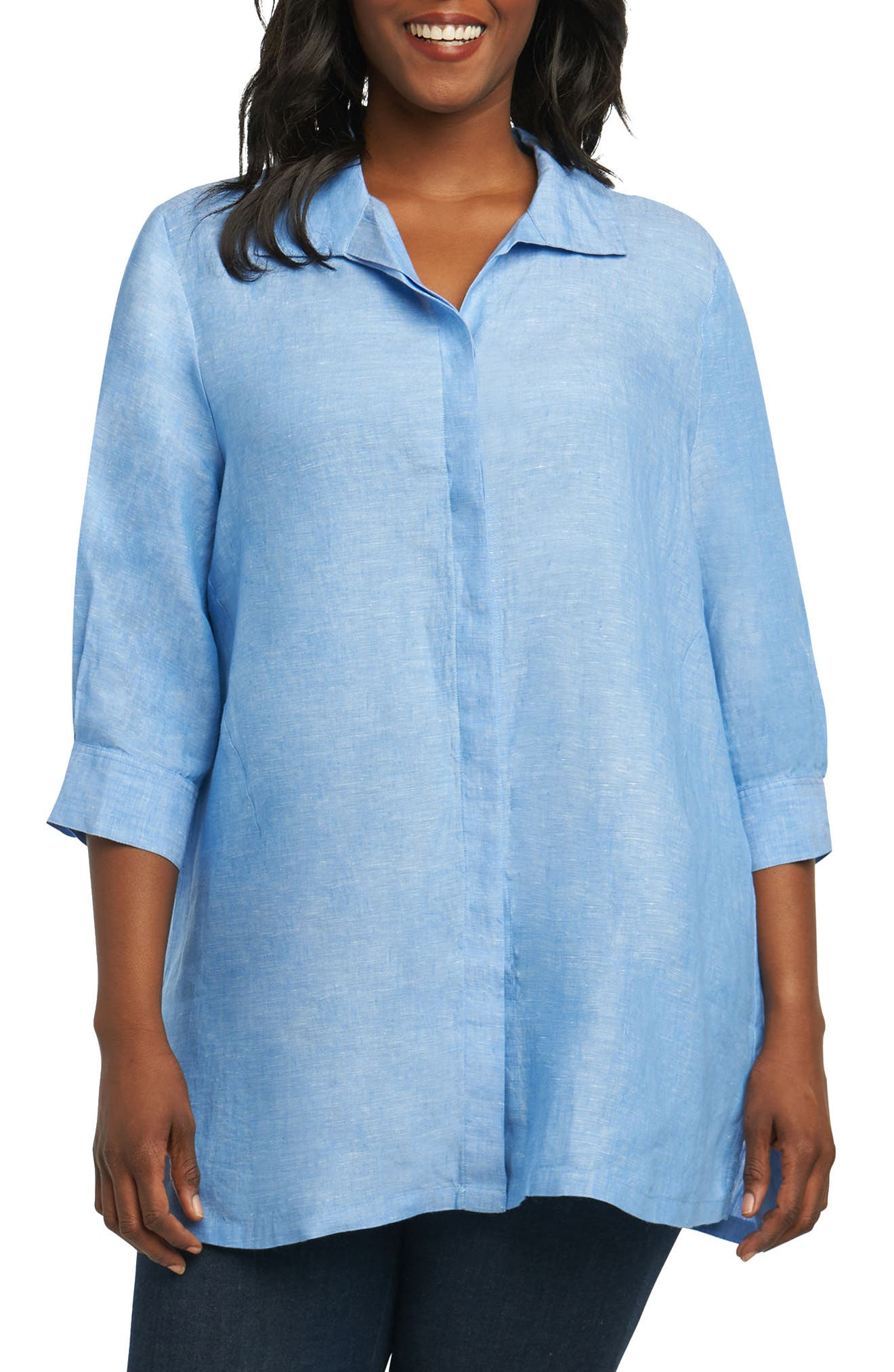 Chambray Linen Tunic Shirt,                         Main,                         color, HARBOR BLUE