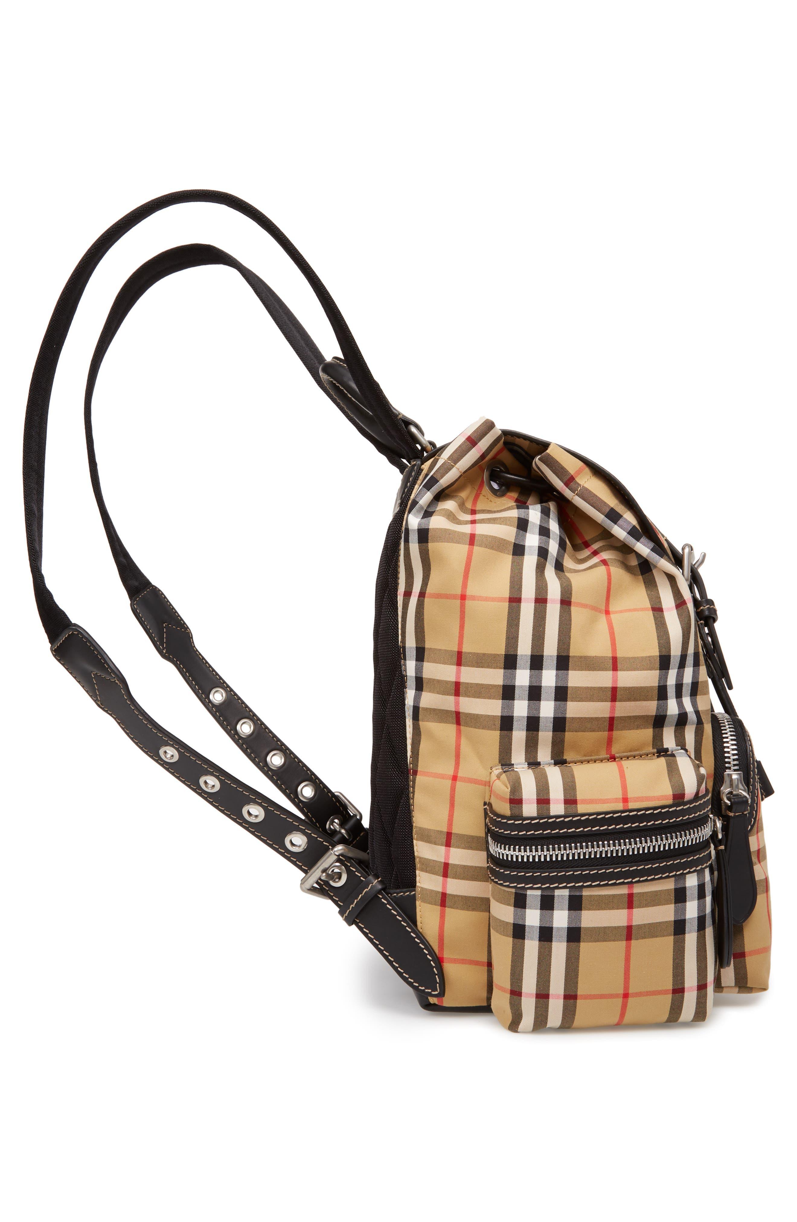 Medium Rucksack Check Cotton Backpack,                             Alternate thumbnail 5, color,                             ANTIQUE YELLOW