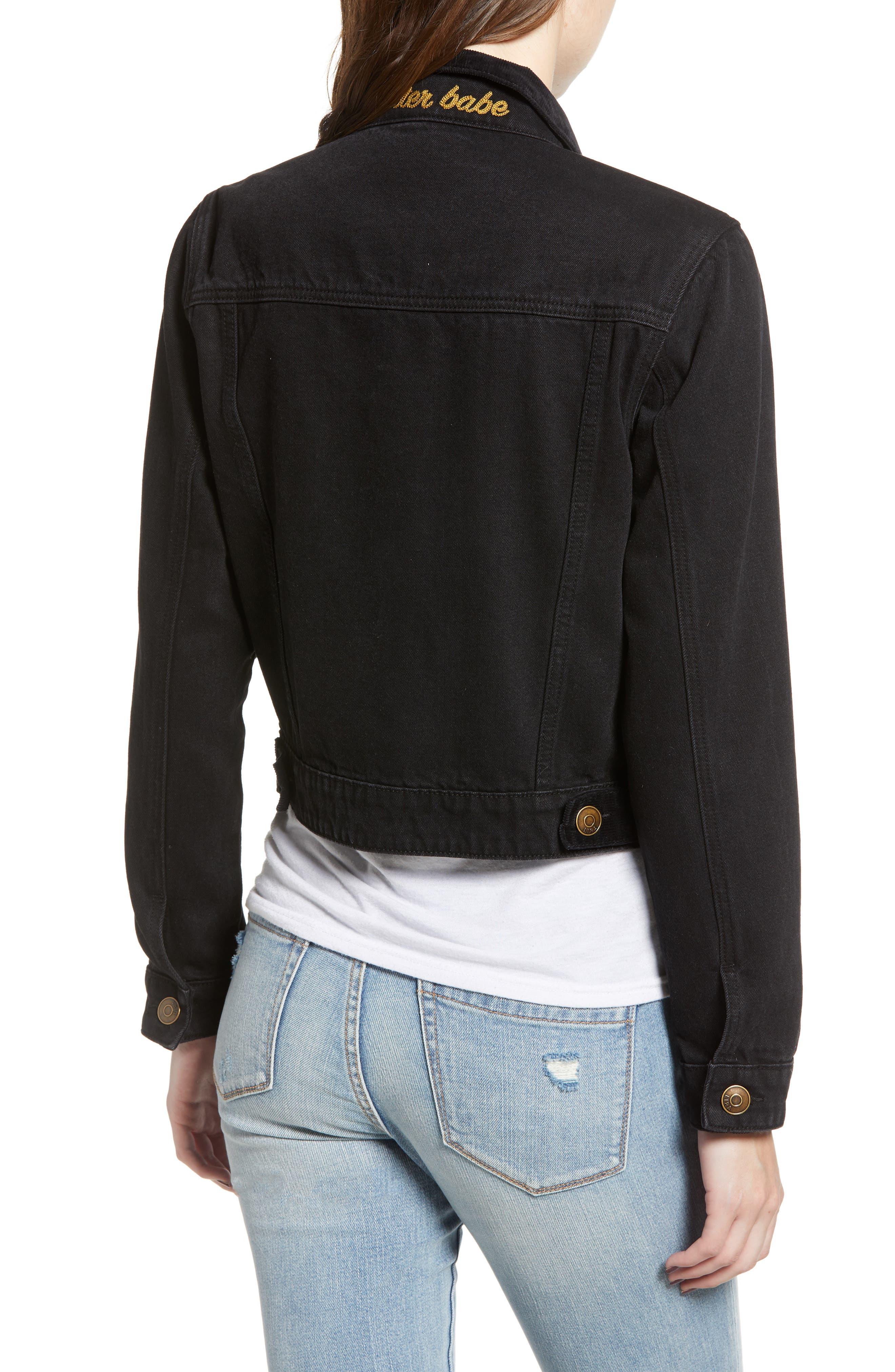 Polara Denim Jacket,                             Alternate thumbnail 2, color,                             WASHED BLACK
