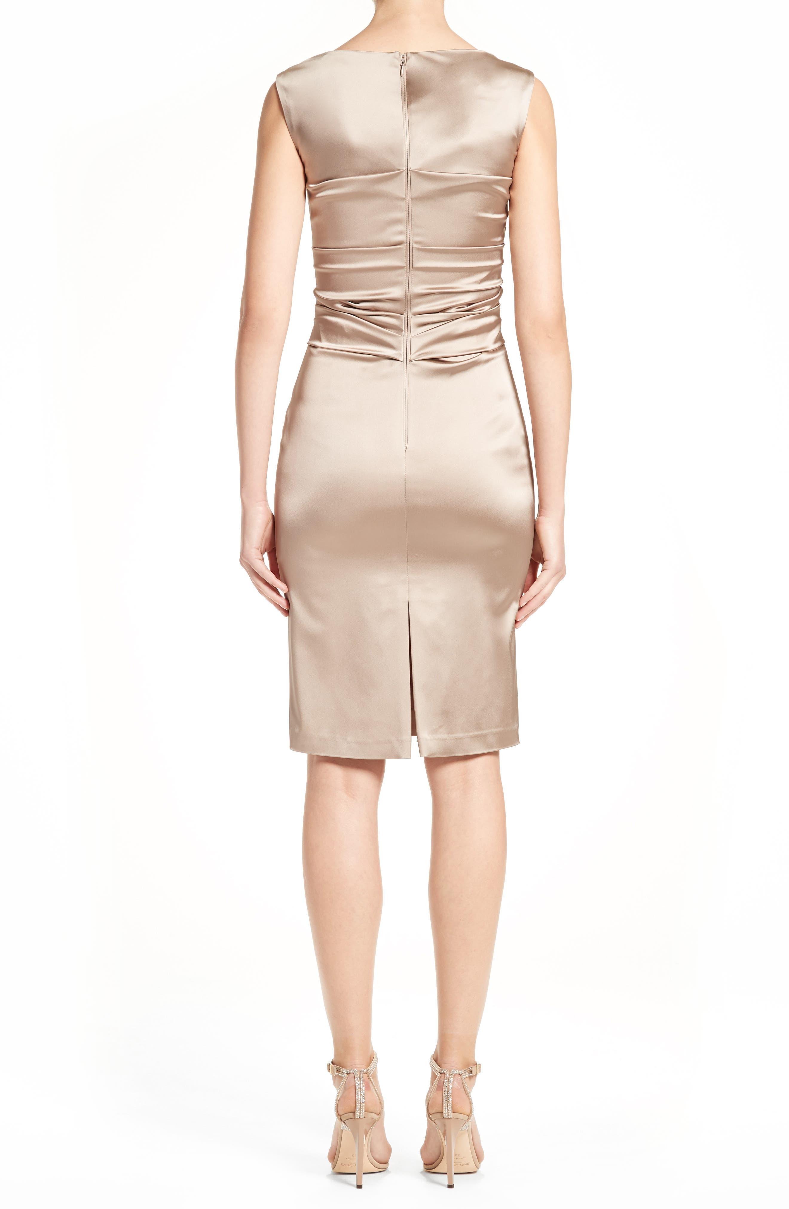 Stretch Satin Sheath Dress,                             Alternate thumbnail 2, color,                             STONE
