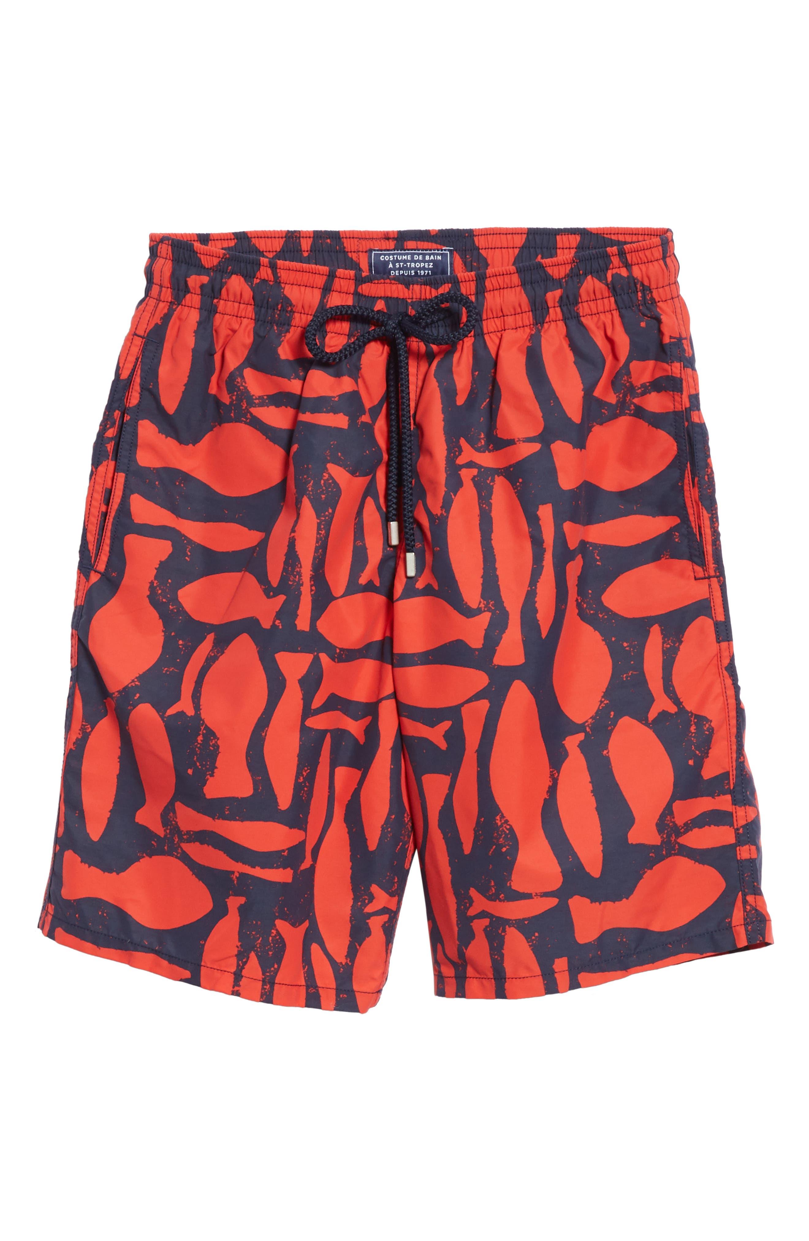 Silex Fish Print Swim Trunks,                             Alternate thumbnail 6, color,                             POPPY RED