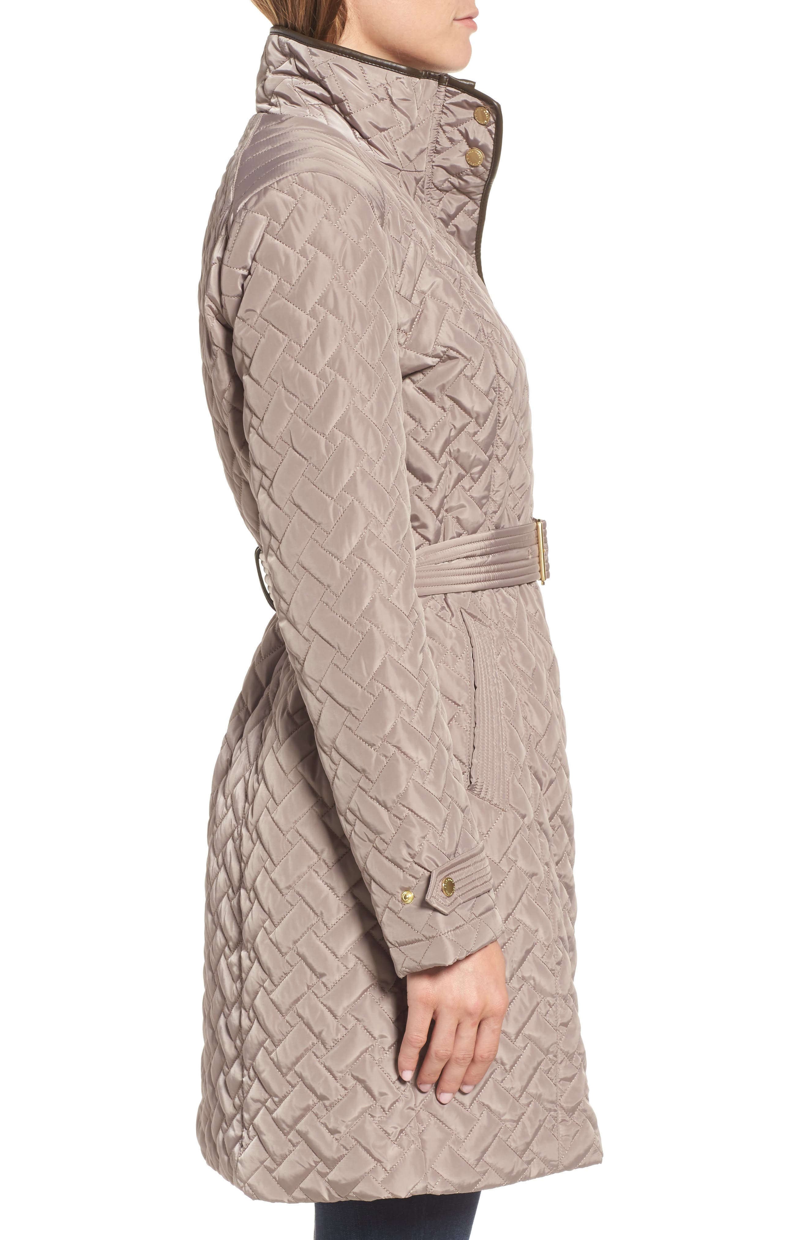 Belted Quilted Coat,                             Alternate thumbnail 3, color,                             284