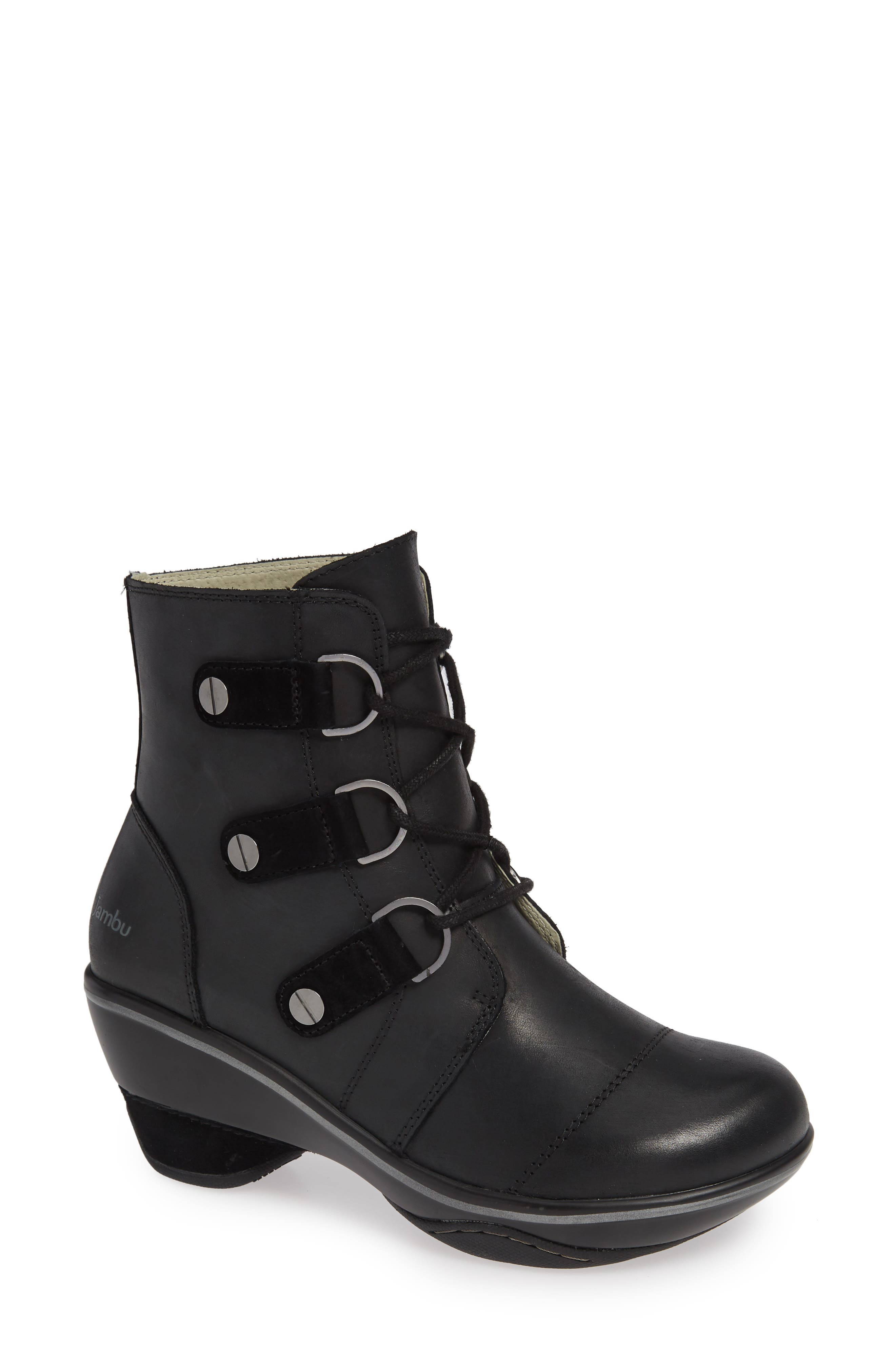 Jambu Emma Lace-Up Bootie- Black