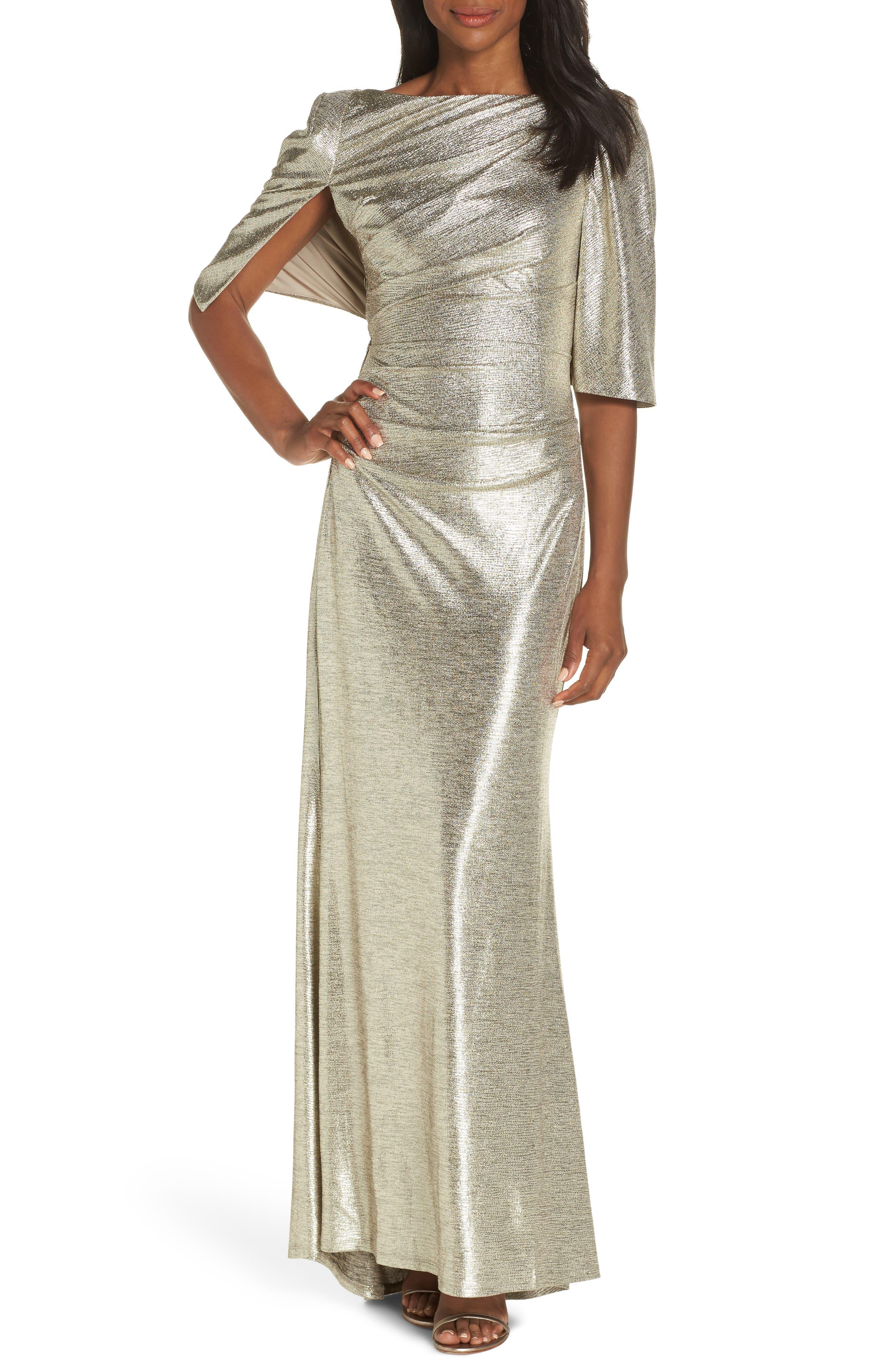 Eliza J Metallic Cape Gown, Metallic
