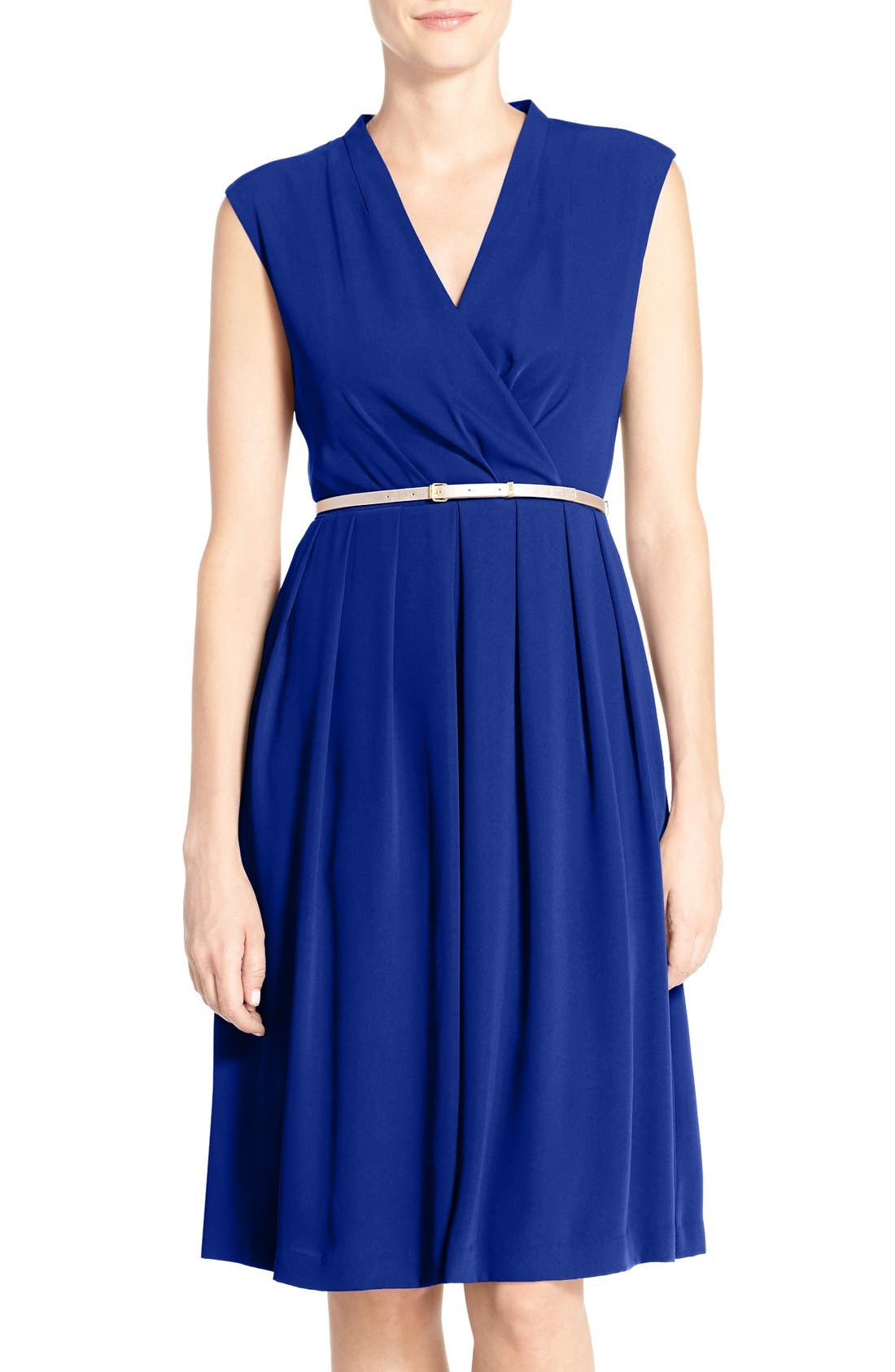 Belted Woven Fit & Flare Dress,                             Main thumbnail 2, color,