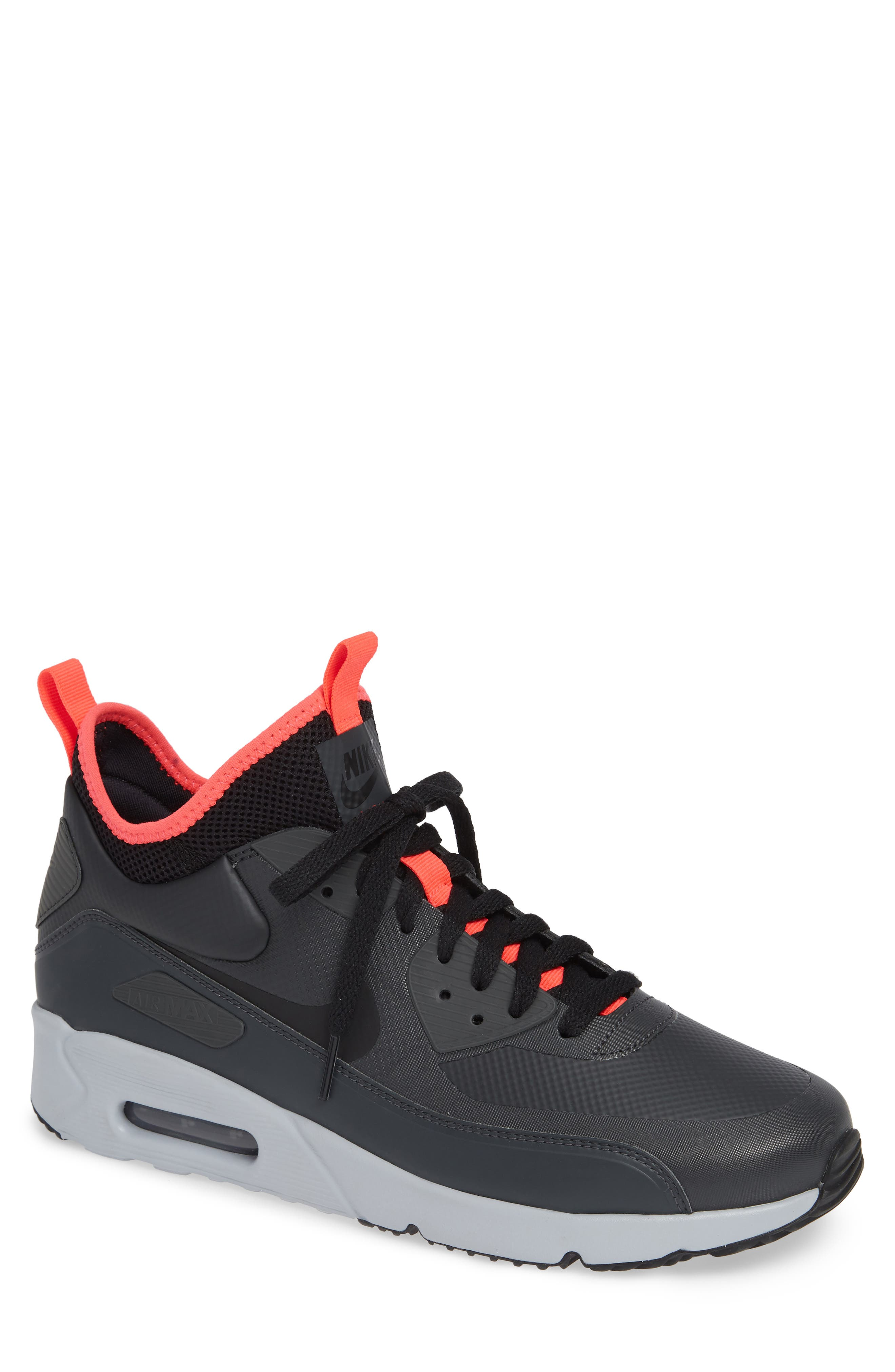 Air Max 90 Ultra Mid Winter Sneaker,                             Main thumbnail 1, color,                             ANTHRACITE/ BLACK/ SOLAR RED