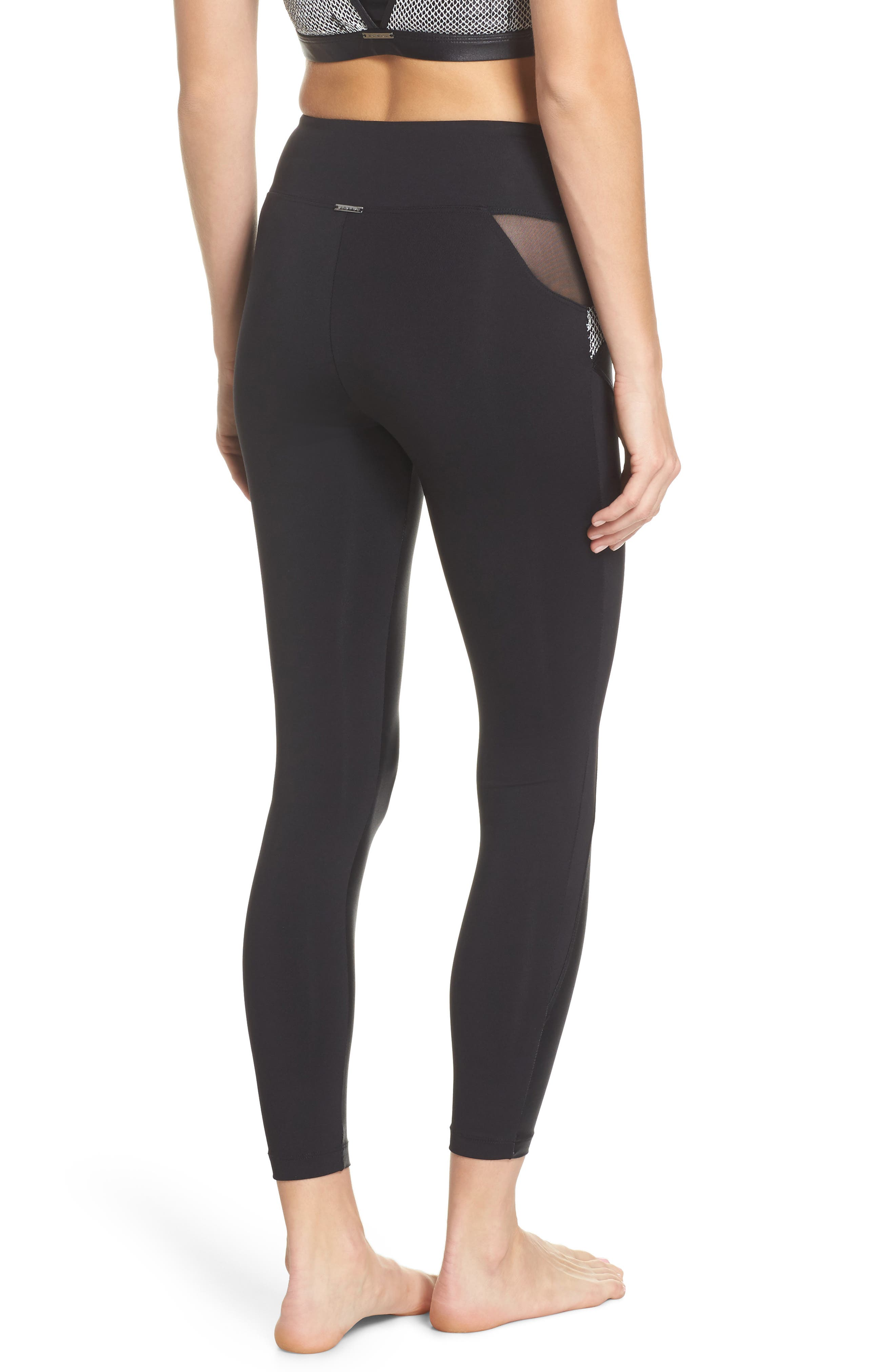 Waves High Waist Leggings,                             Alternate thumbnail 2, color,                             001
