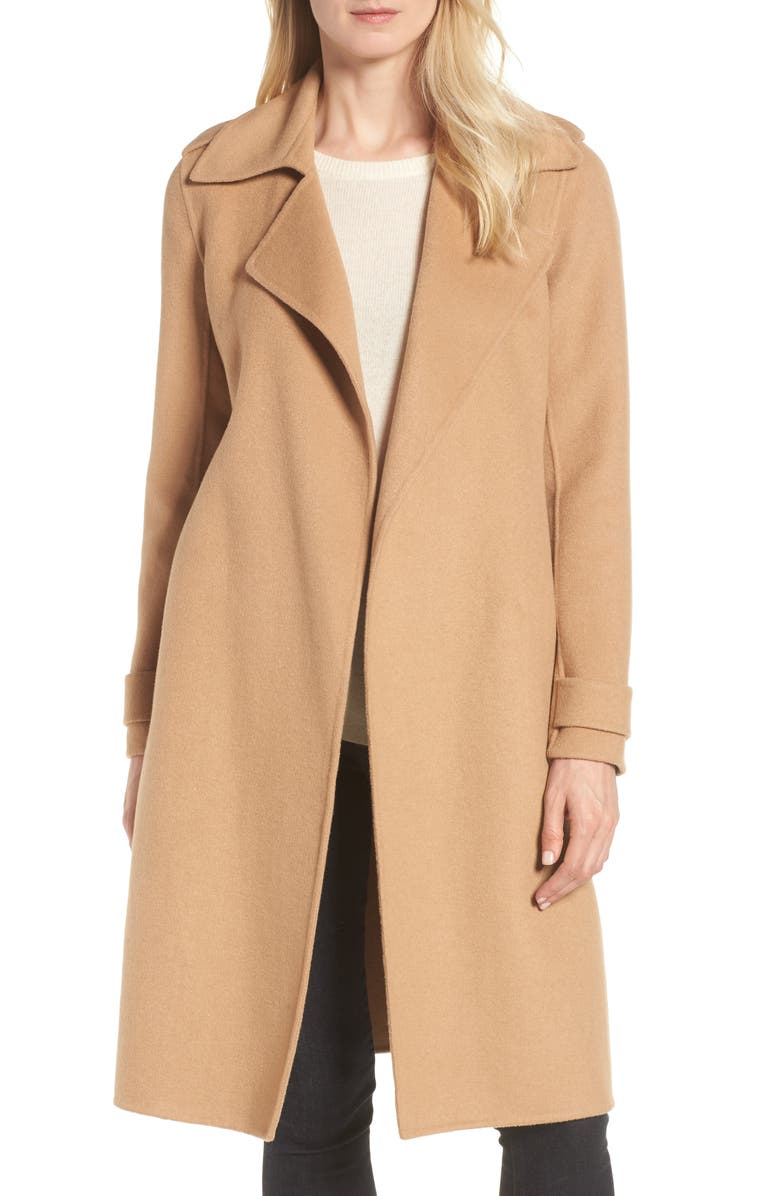 Badgley Mischka Double Face Wool Blend Wrap Front Coat (Regular & Petite) | Nordstrom