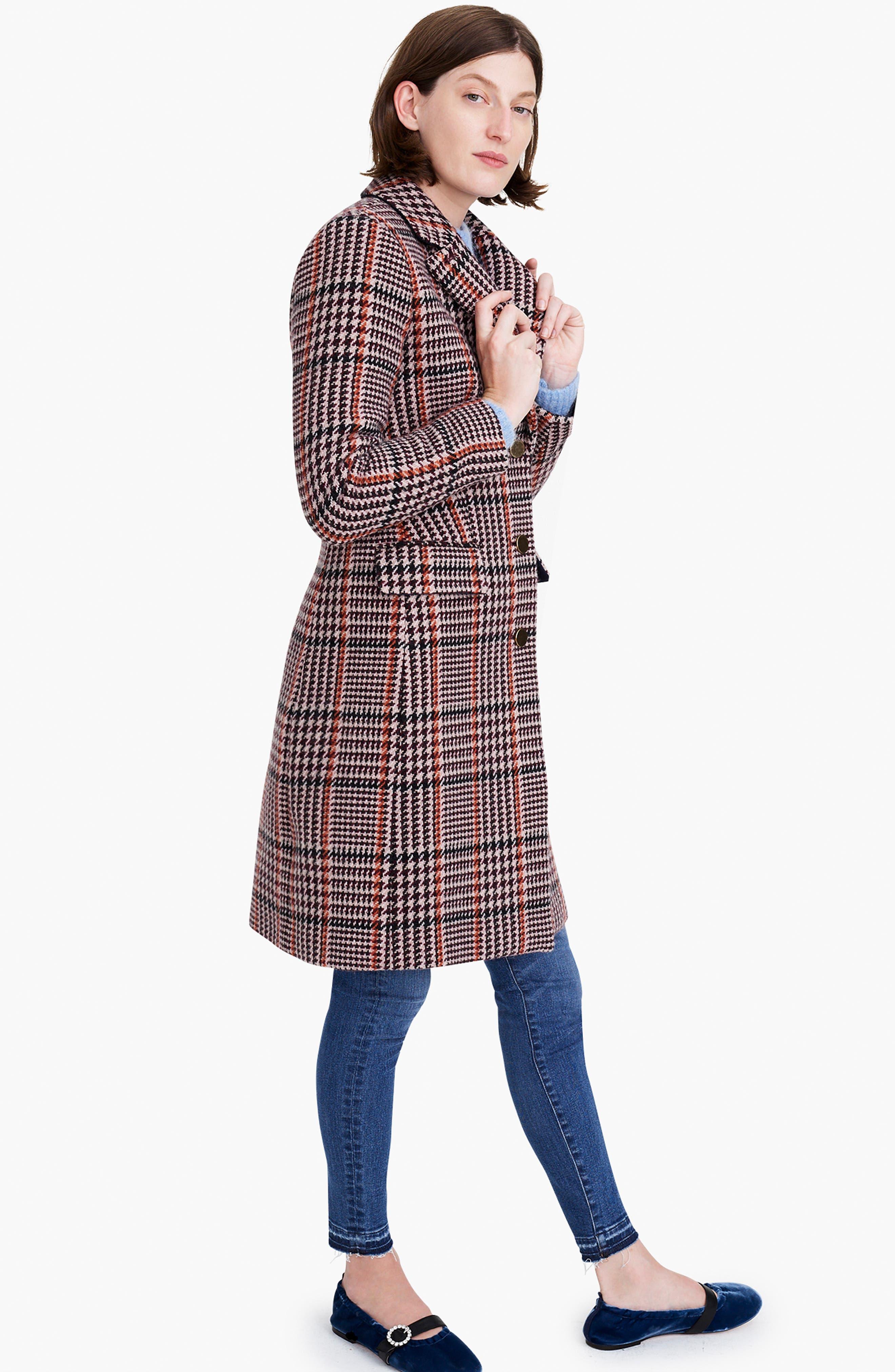 Plaid Single Breasted Topcoat,                             Alternate thumbnail 9, color,                             CABERNET PLAID