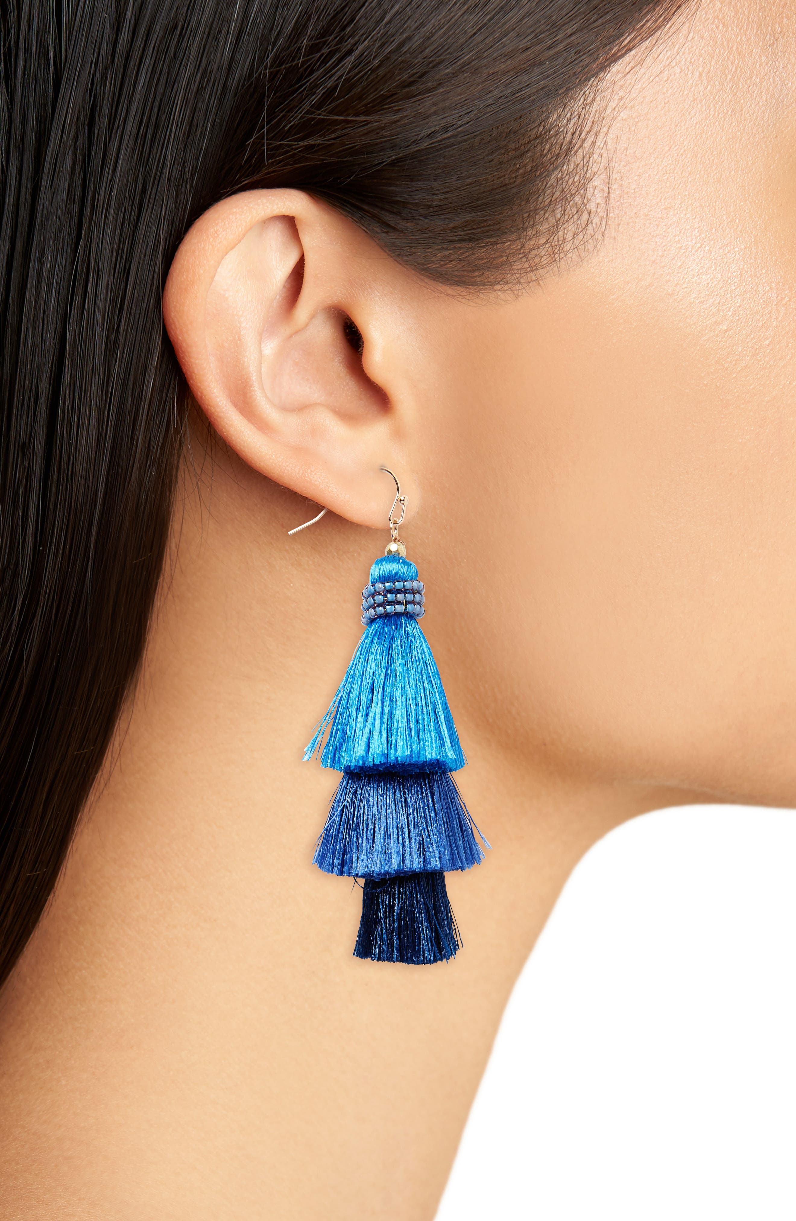 Tiered Tassel Earrings,                             Alternate thumbnail 2, color,                             410