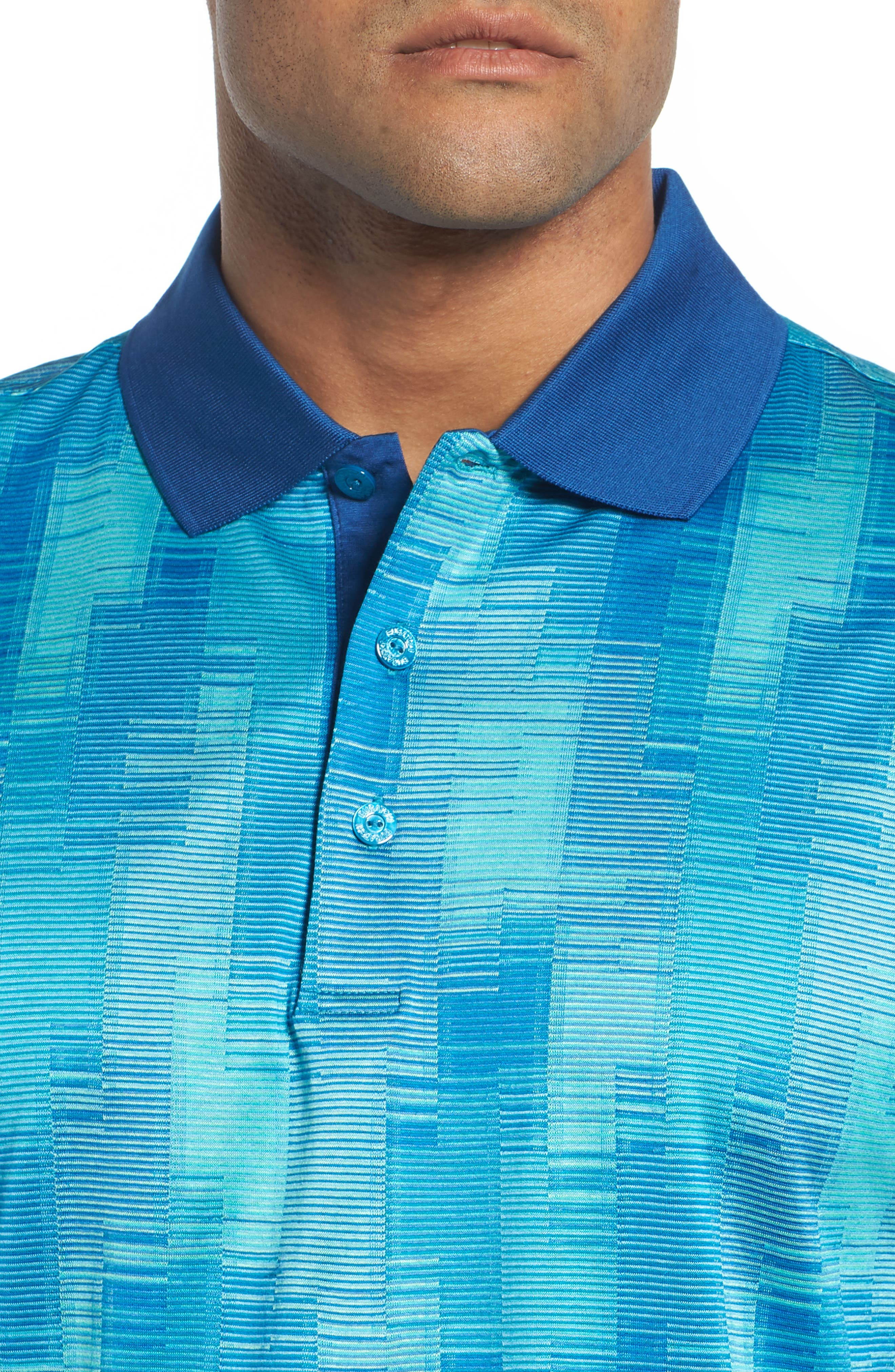 Abstract Stripe Mercerized Cotton Polo,                             Alternate thumbnail 4, color,                             TURQUOISE