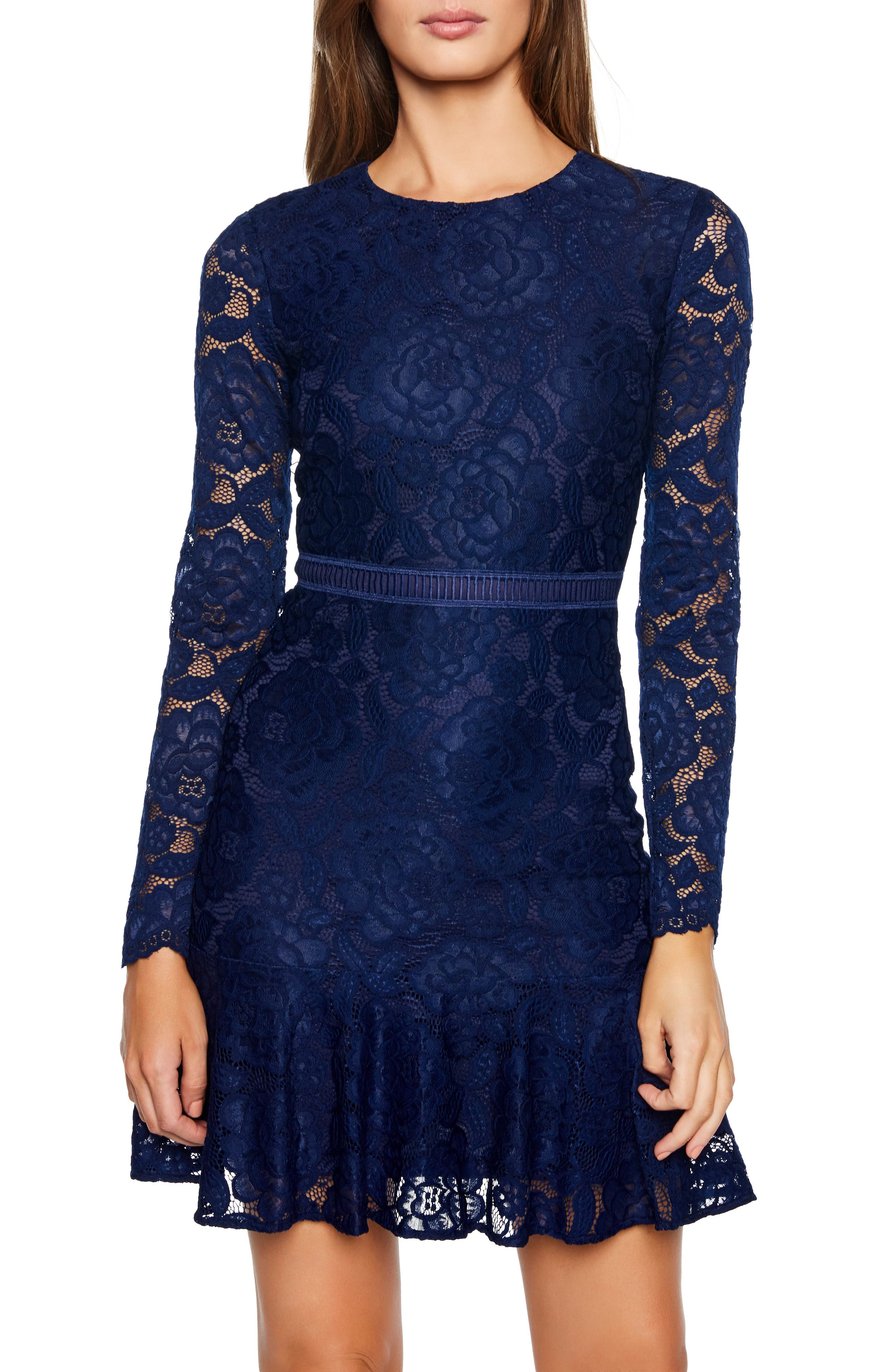 Bardot Rubi Long Sleeve Lace Dress, Blue