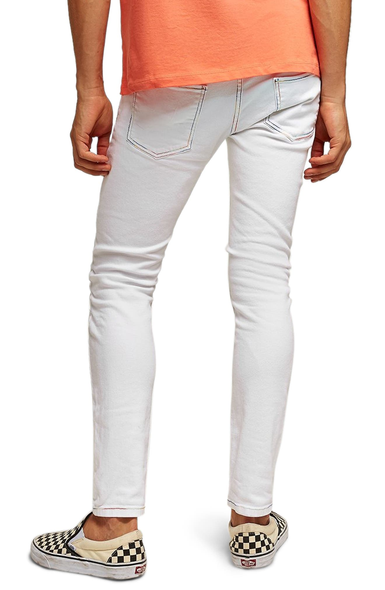 Contrast Stitch Skinny Fit Jeans,                             Alternate thumbnail 2, color,                             WHITE