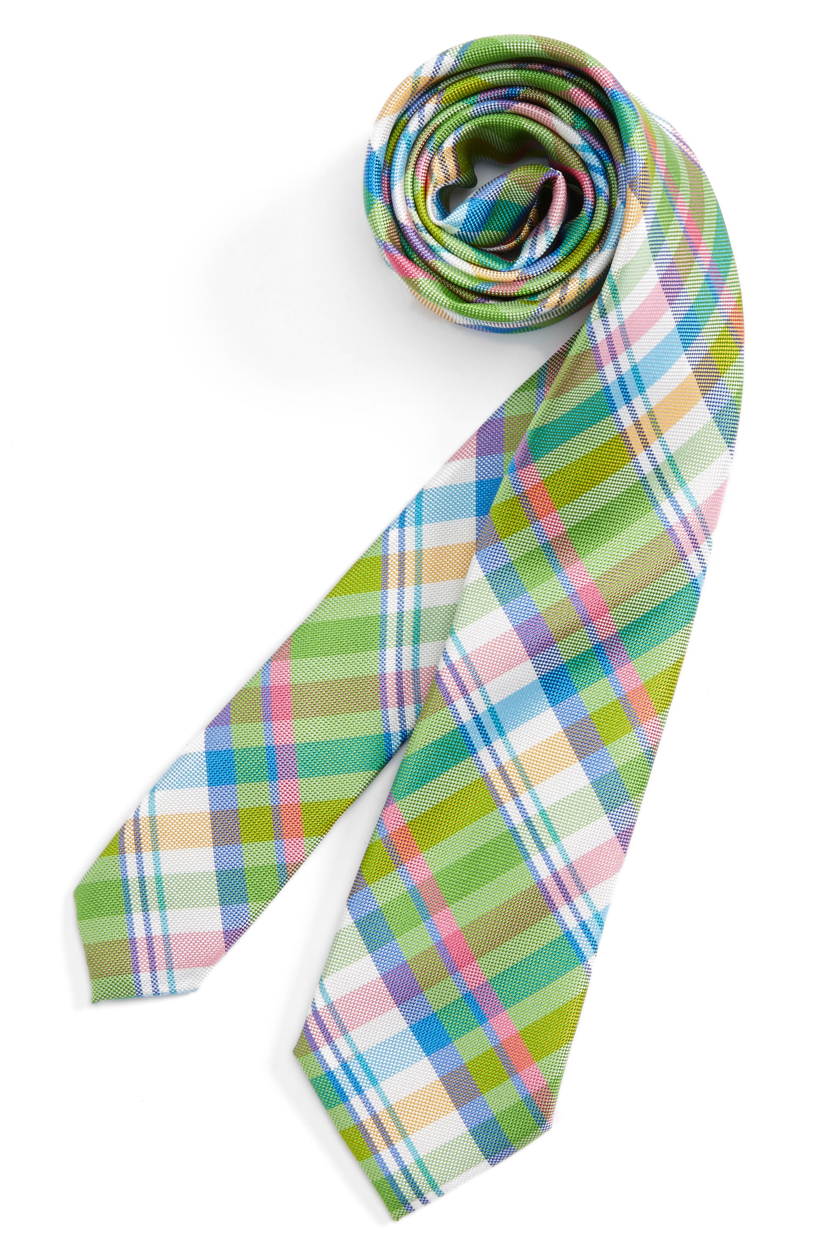 Plaid Silk Tie,                         Main,                         color, 300