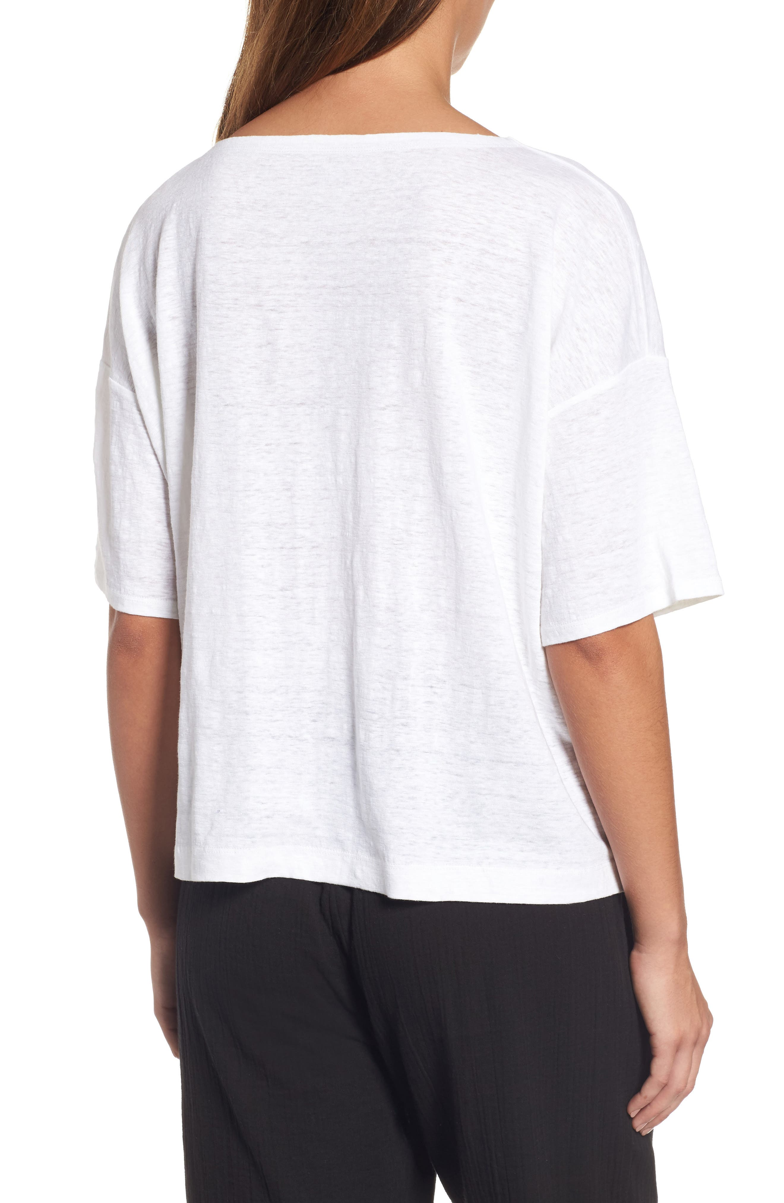 Organic Linen Jersey Boxy Top,                             Alternate thumbnail 9, color,