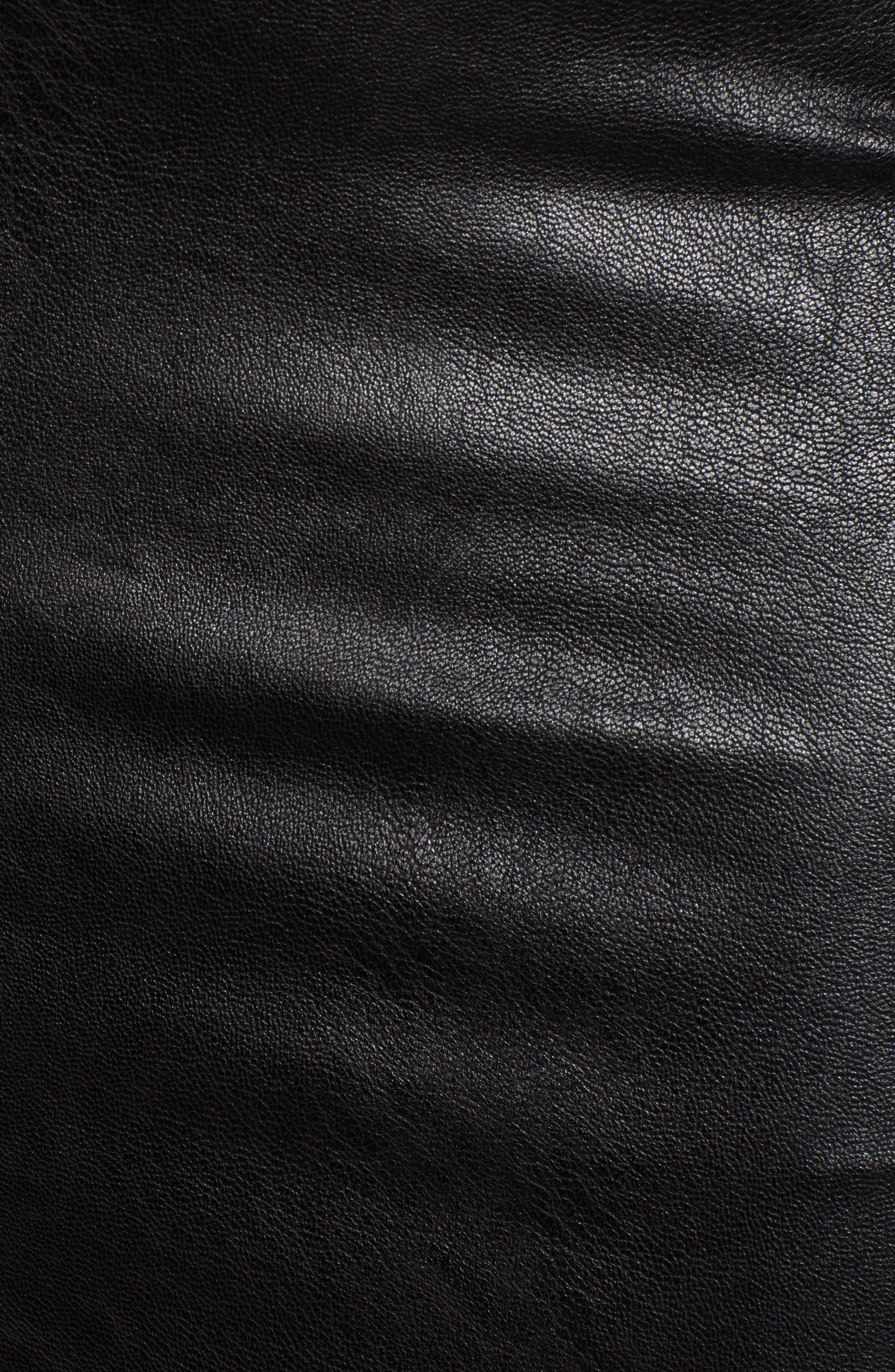 Faux Leather Midi Skirt,                             Alternate thumbnail 5, color,                             BLACK
