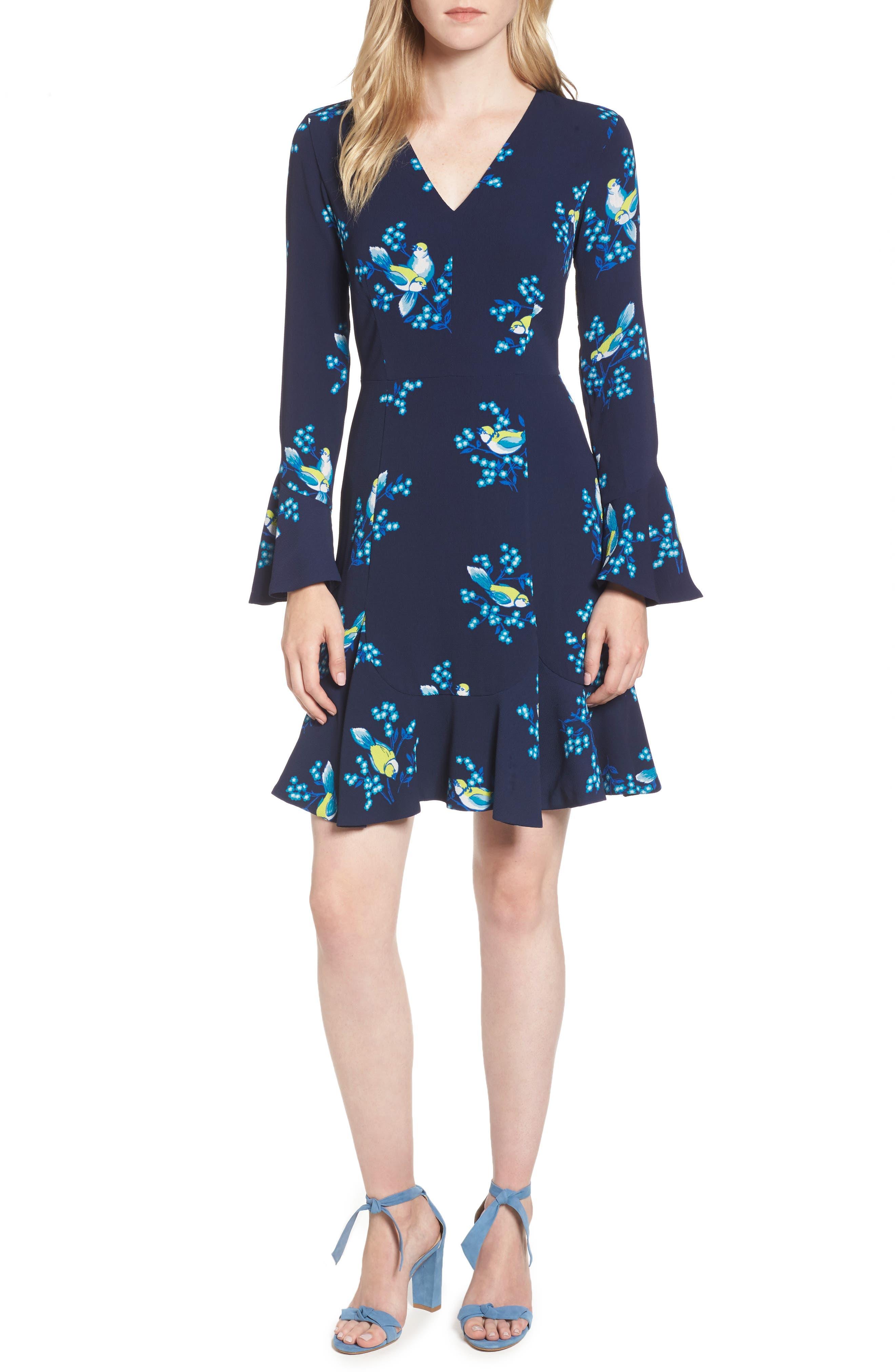 Magnolia Mockingbird Bell Sleeve A-line Dress,                         Main,                         color, 432