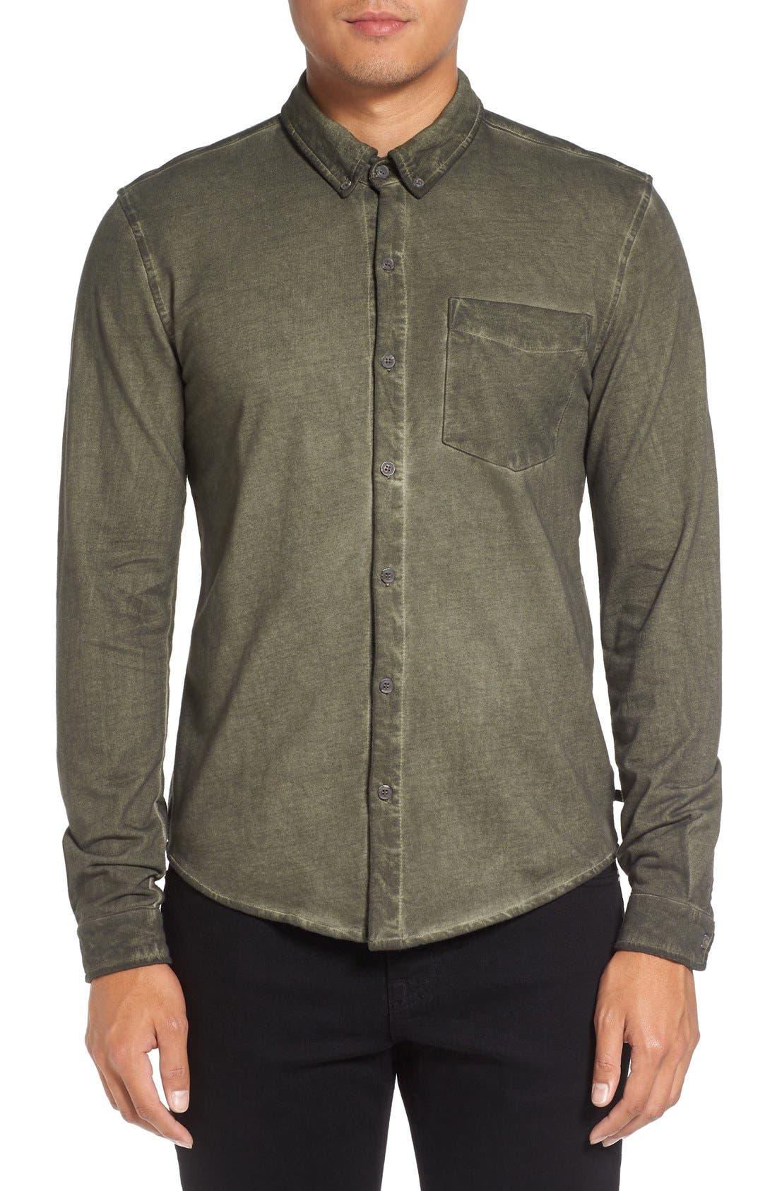 Slim Fit Garment Washed Sport Shirt,                             Main thumbnail 3, color,