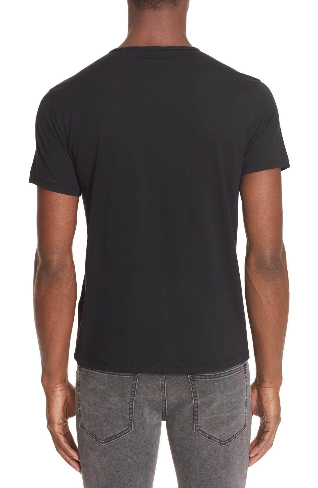 Pima Cotton T-Shirt,                             Alternate thumbnail 4, color,                             BLACK