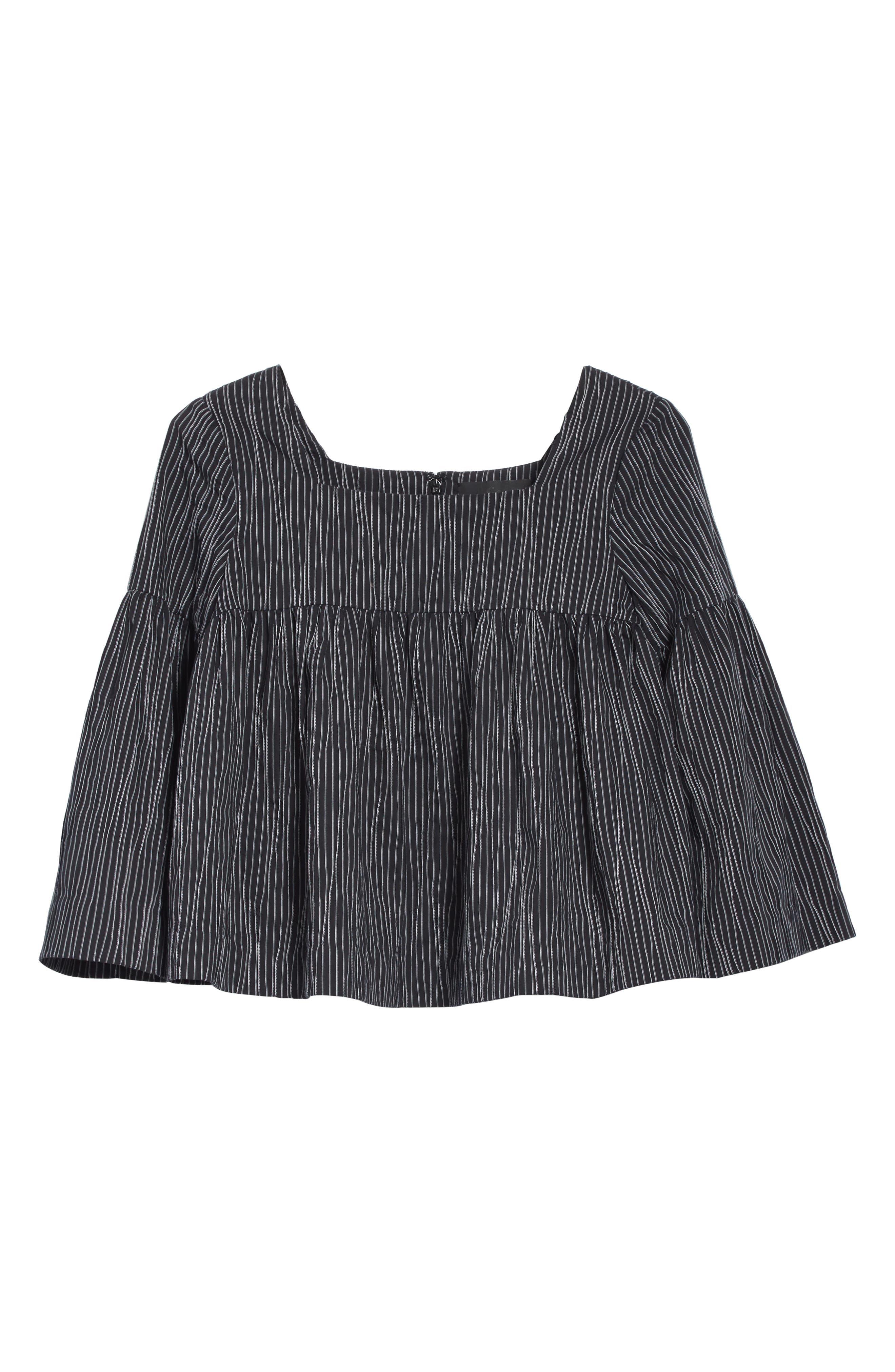 Stripe Crinkle Cotton Blend Swing Top,                             Alternate thumbnail 6, color,