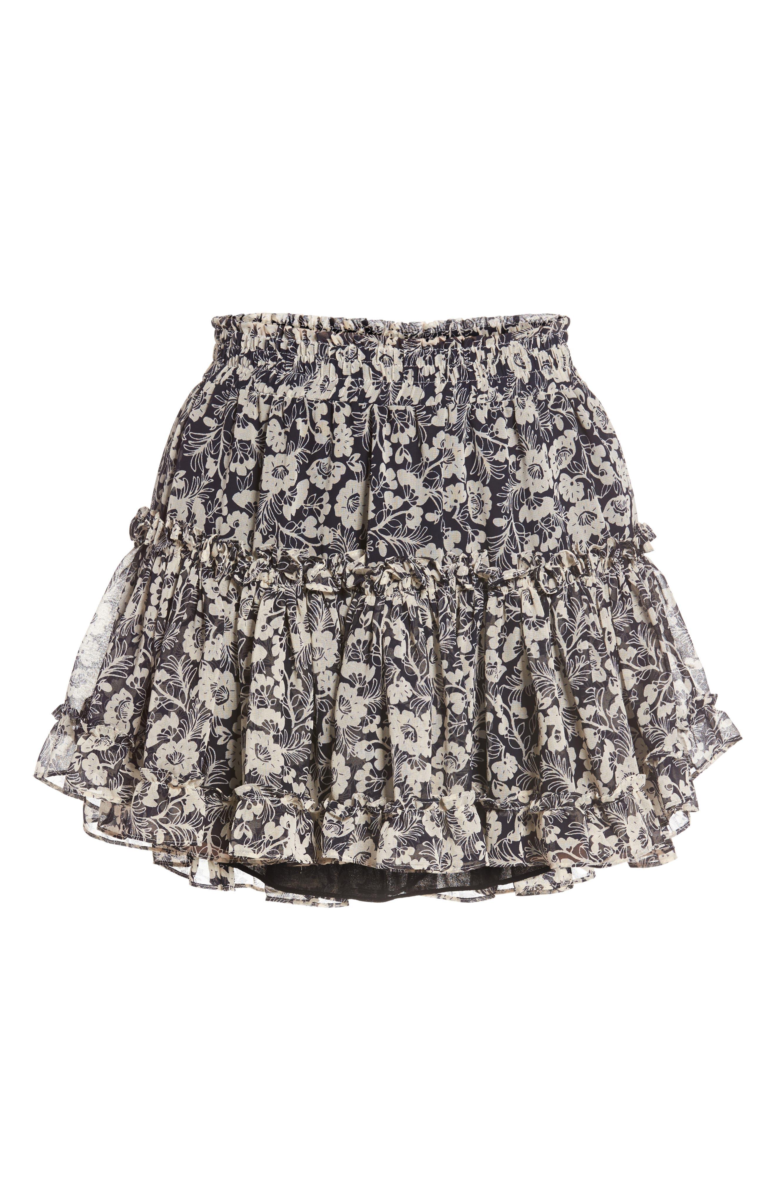Marion Floral Print Miniskirt,                             Alternate thumbnail 6, color,                             400