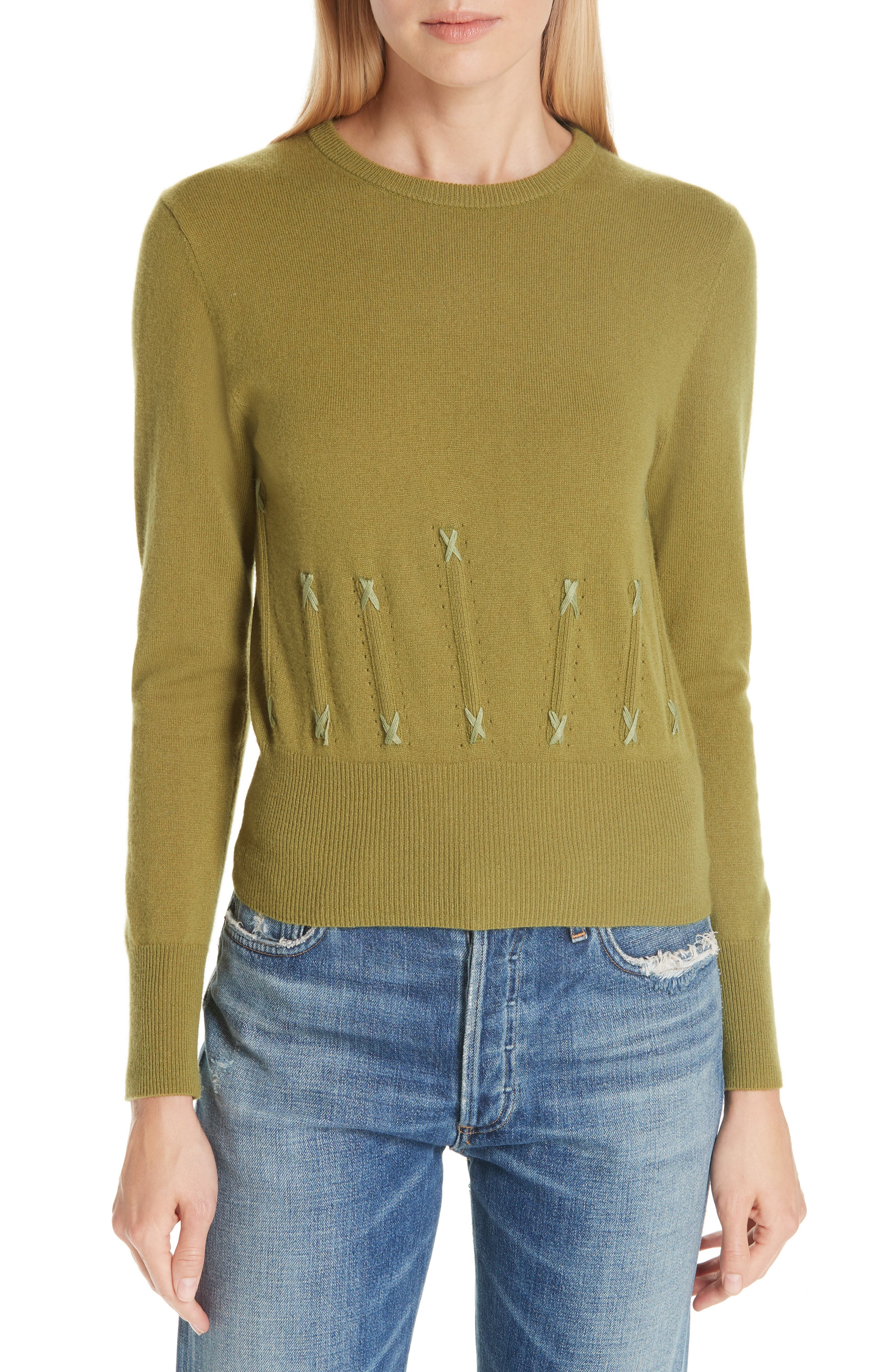 Cailyn Corset Knit Cashmere Sweater,                             Main thumbnail 1, color,                             GREEN