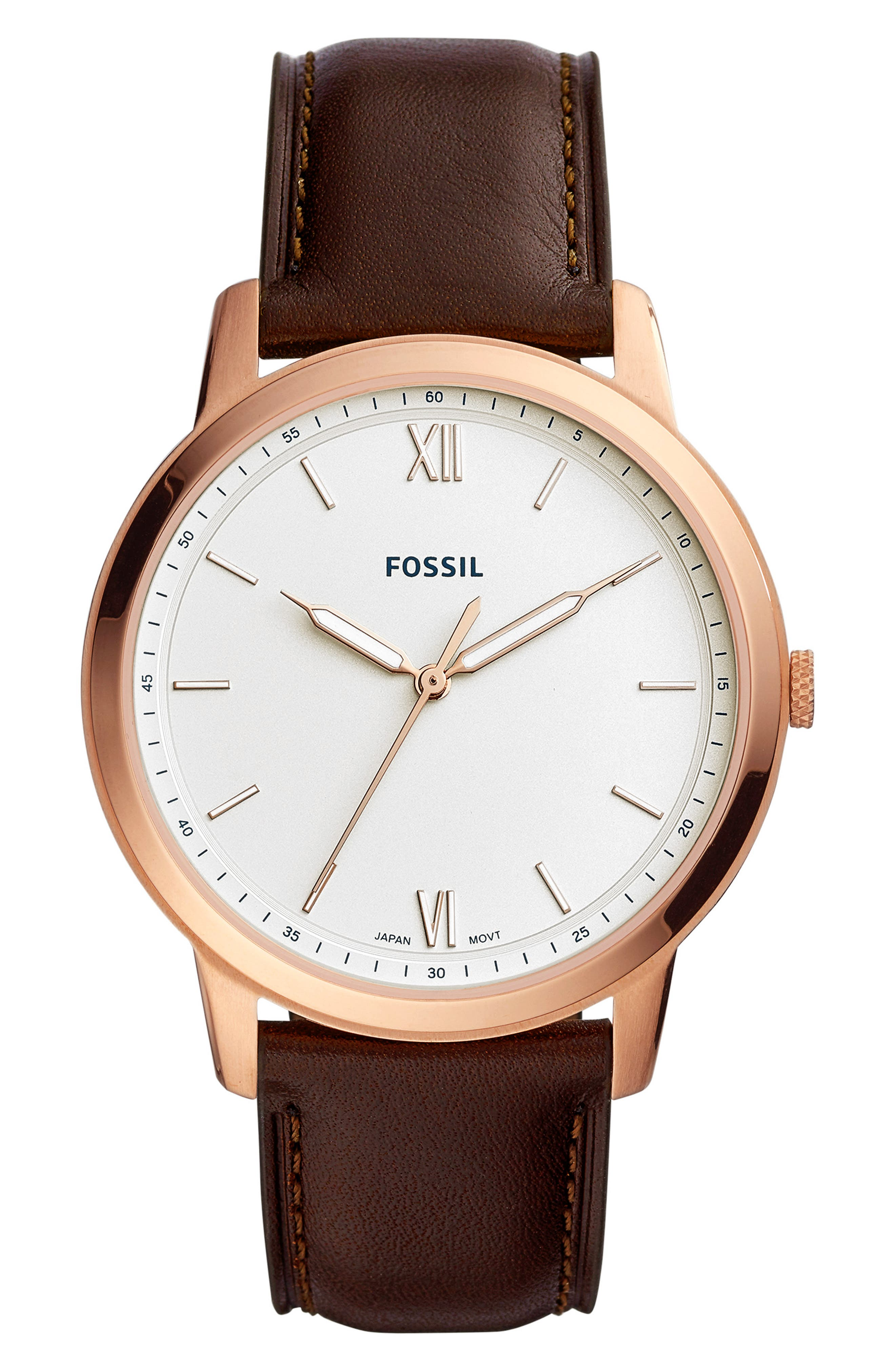 Minimalist Leather Strap Watch, 44mm,                             Main thumbnail 1, color,                             BROWN/ WHITE/ ROSE GOLD