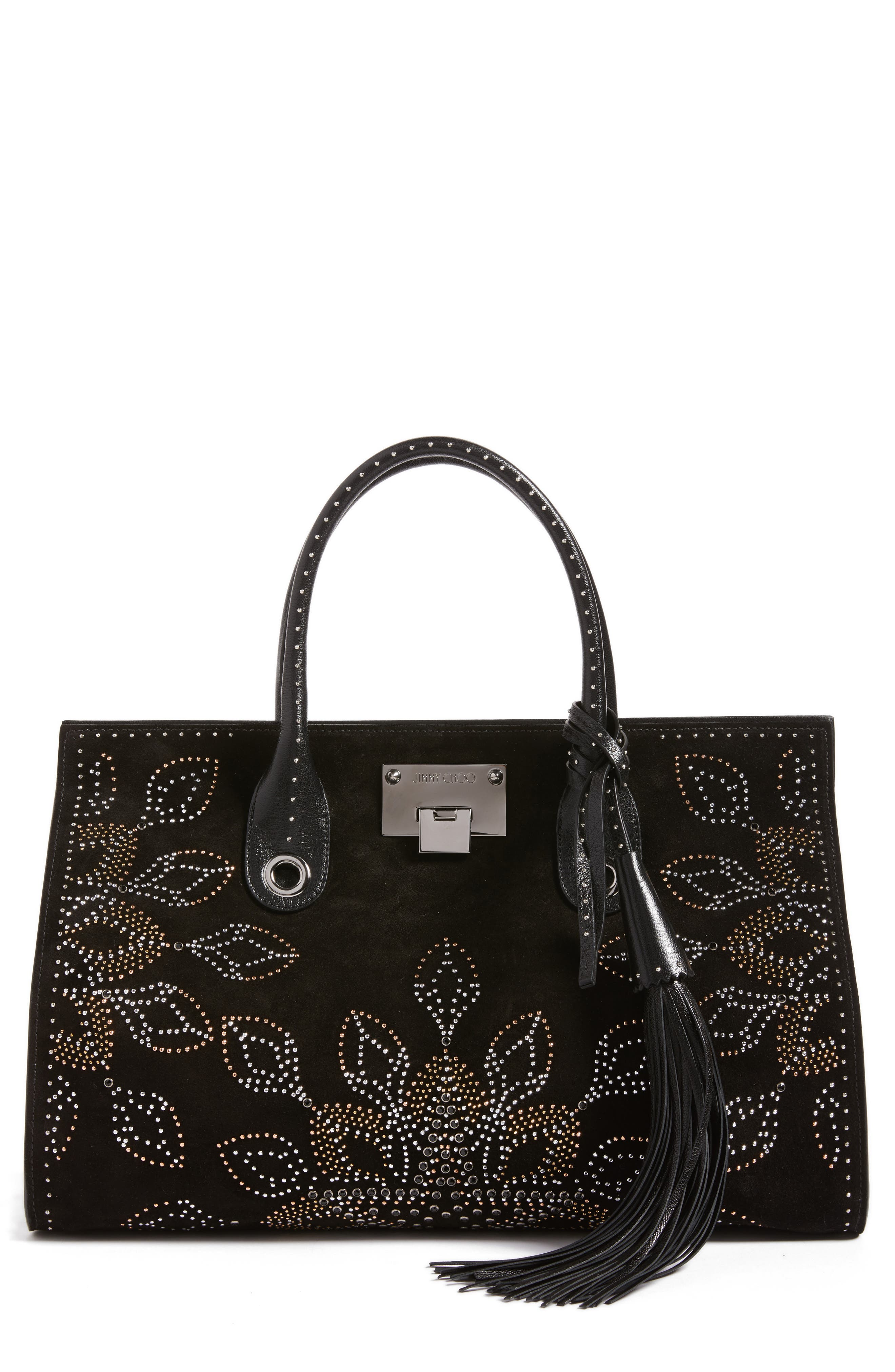 Riley Micro Studded Leather Tote,                         Main,                         color, 001