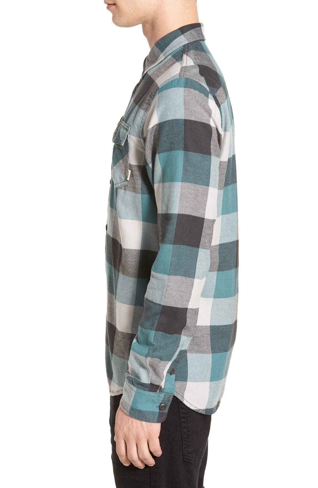 Trim Fit Check Flannel Woven Shirt,                             Alternate thumbnail 14, color,