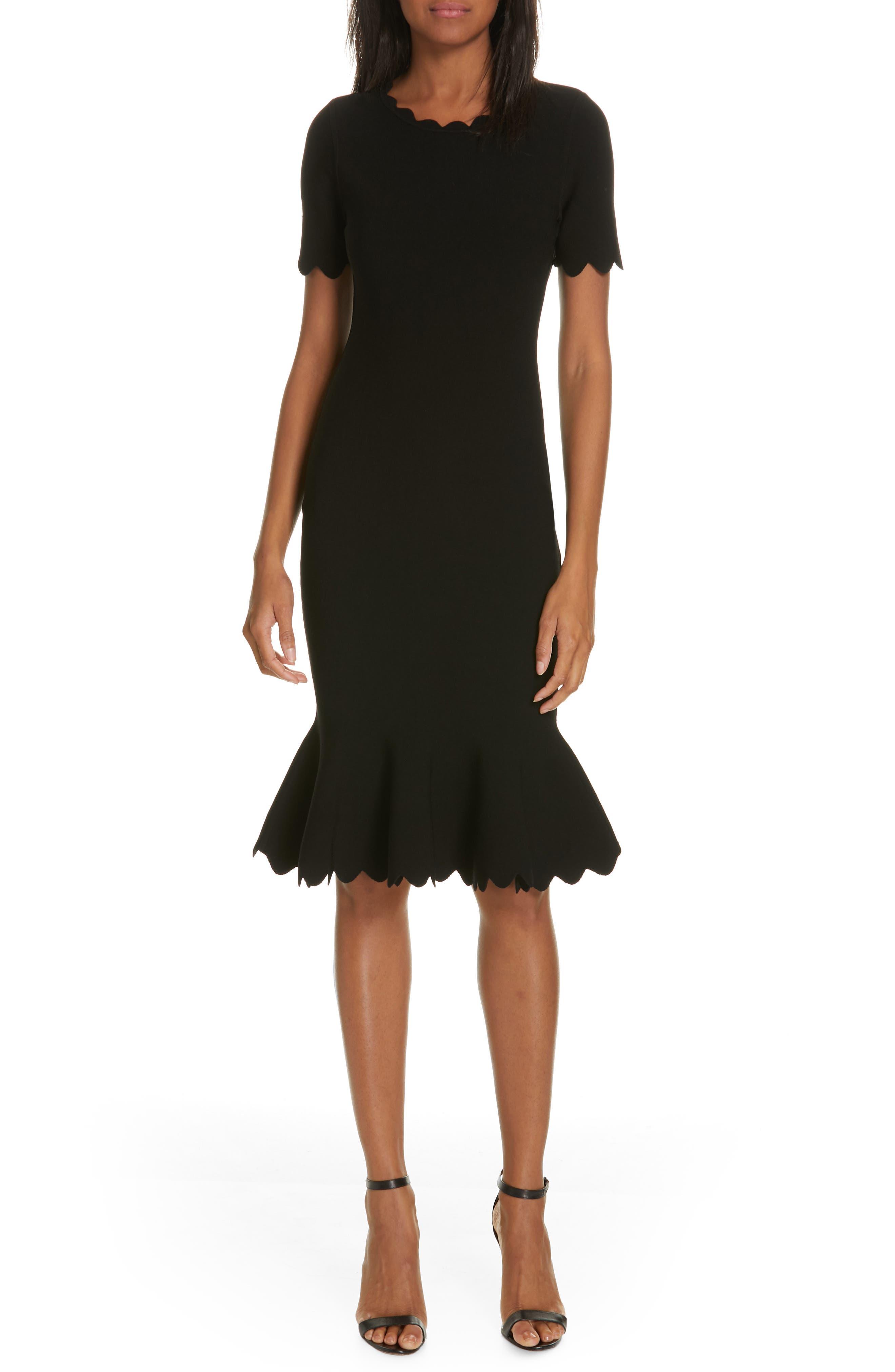 Milly Scallop Trim Mermaid Dress, Black