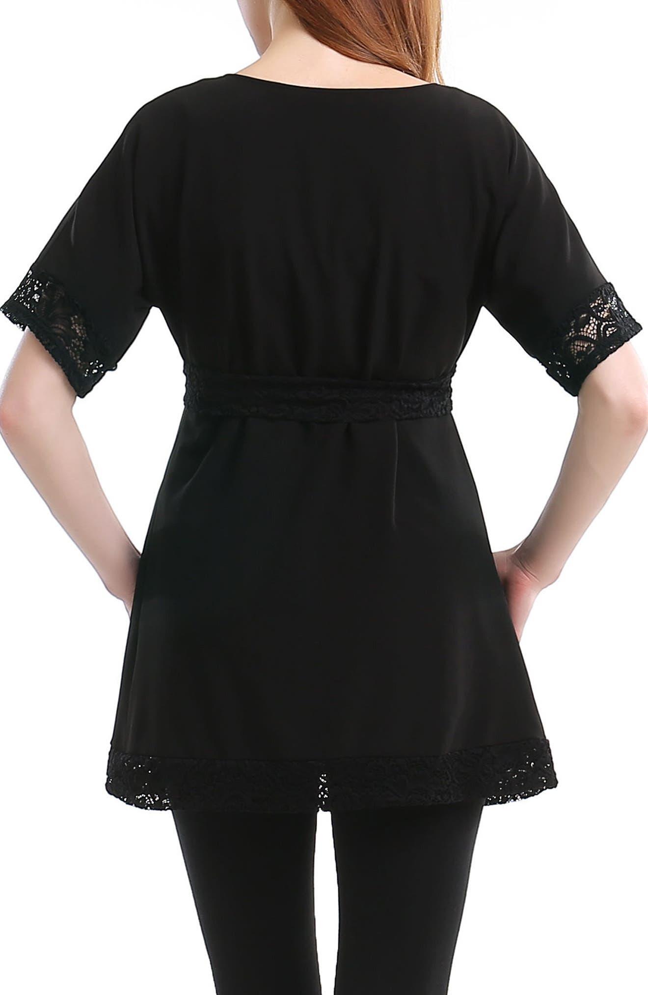 Lace Trim Maternity Tunic,                             Alternate thumbnail 2, color,                             BLACK