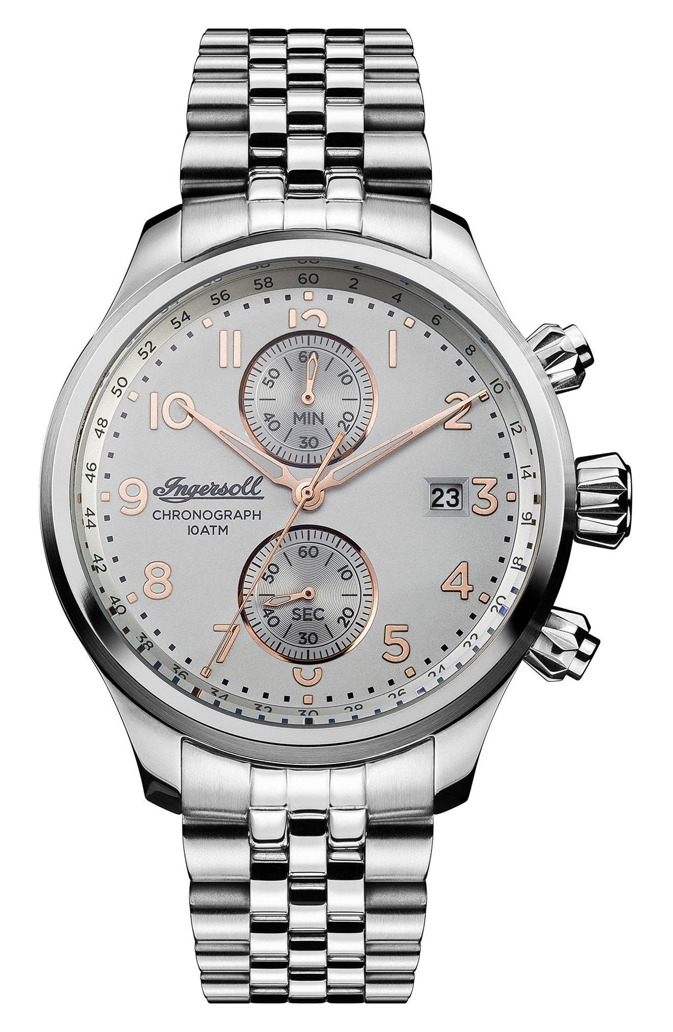 Ingersoll Delta Chronograph Bracelet Watch, 47mm,                             Main thumbnail 1, color,                             040