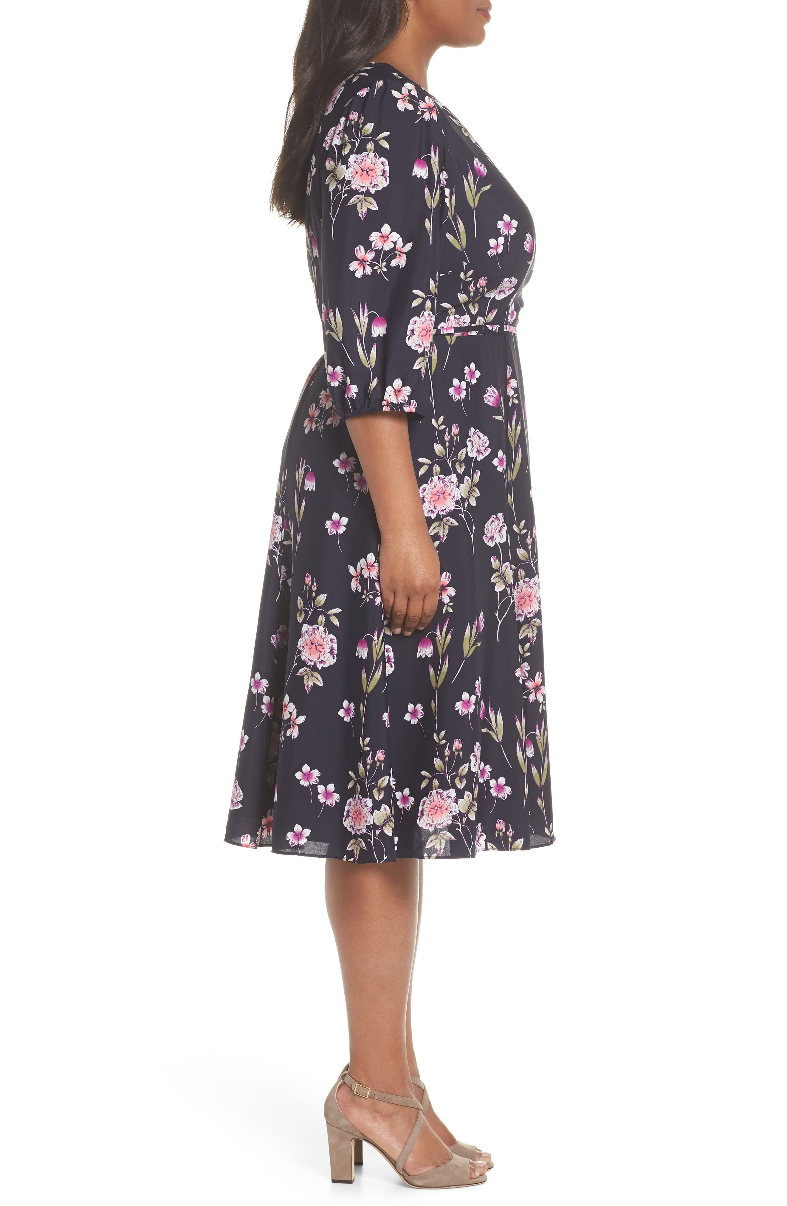 Puff Sleeve Floral Wrap Midi Dress,                             Alternate thumbnail 3, color,                             410