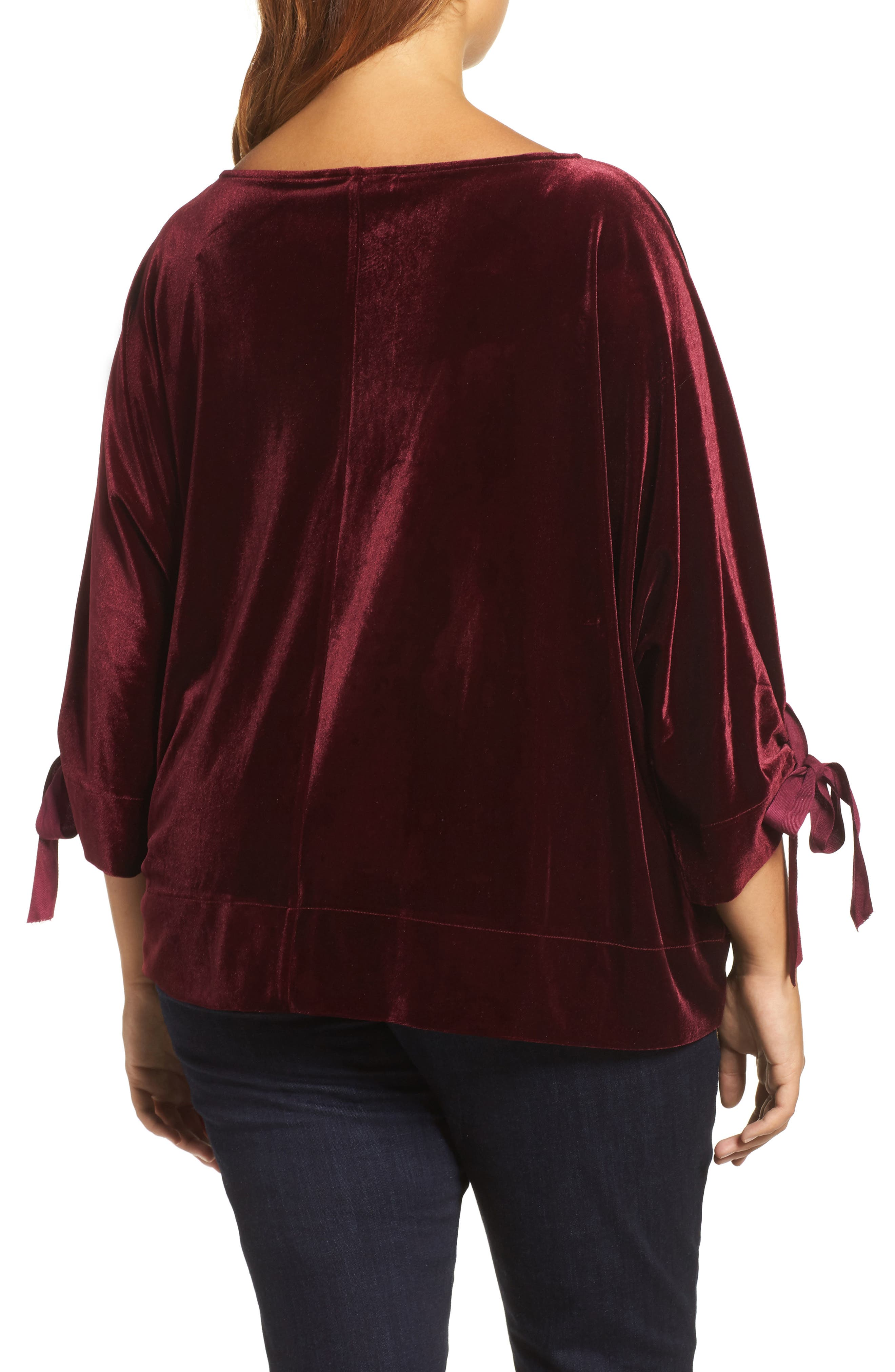 Grommet Detail Velvet Top,                             Alternate thumbnail 2, color,