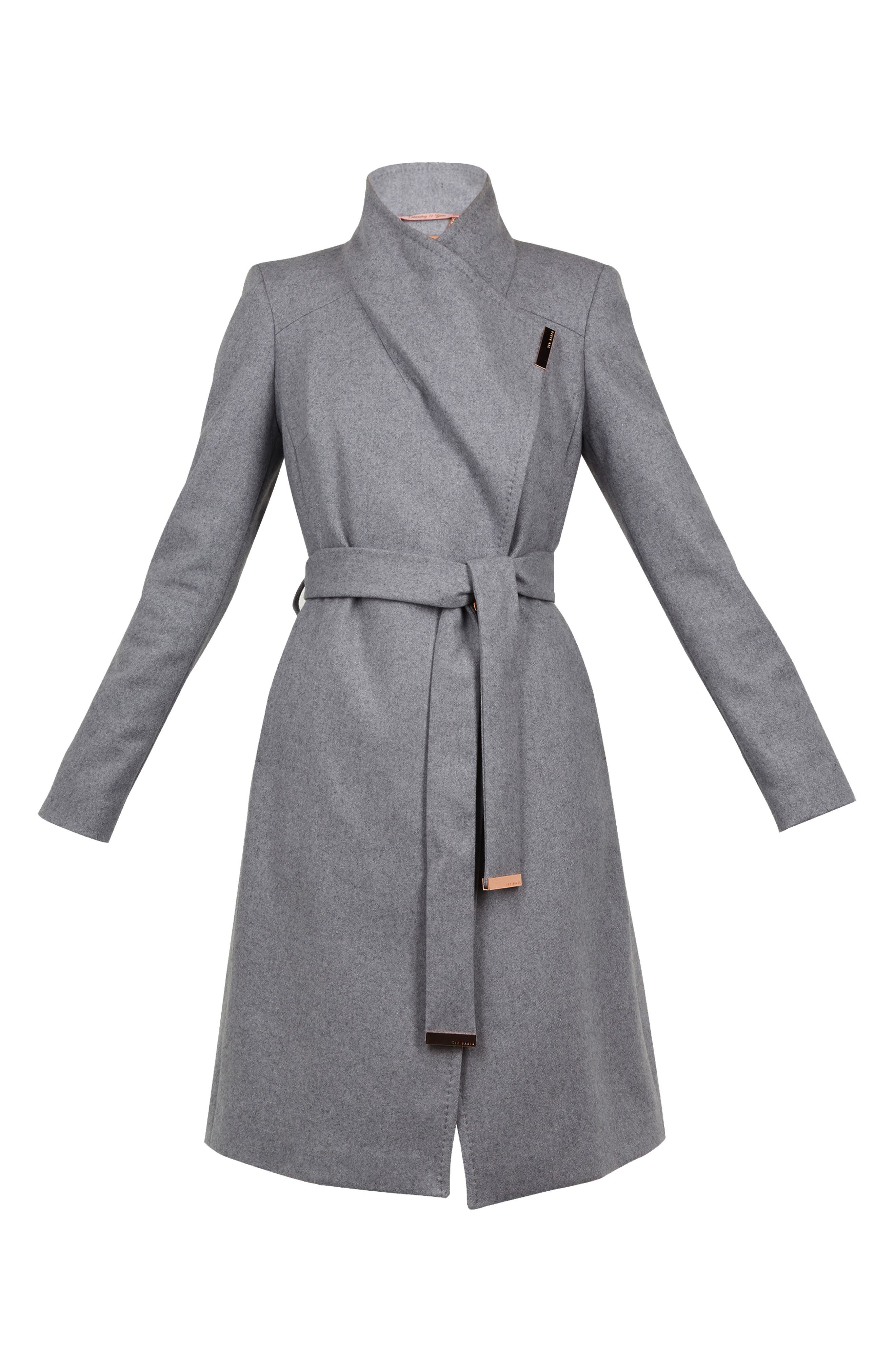 Wool Blend Long Wrap Coat,                             Alternate thumbnail 6, color,                             GREY