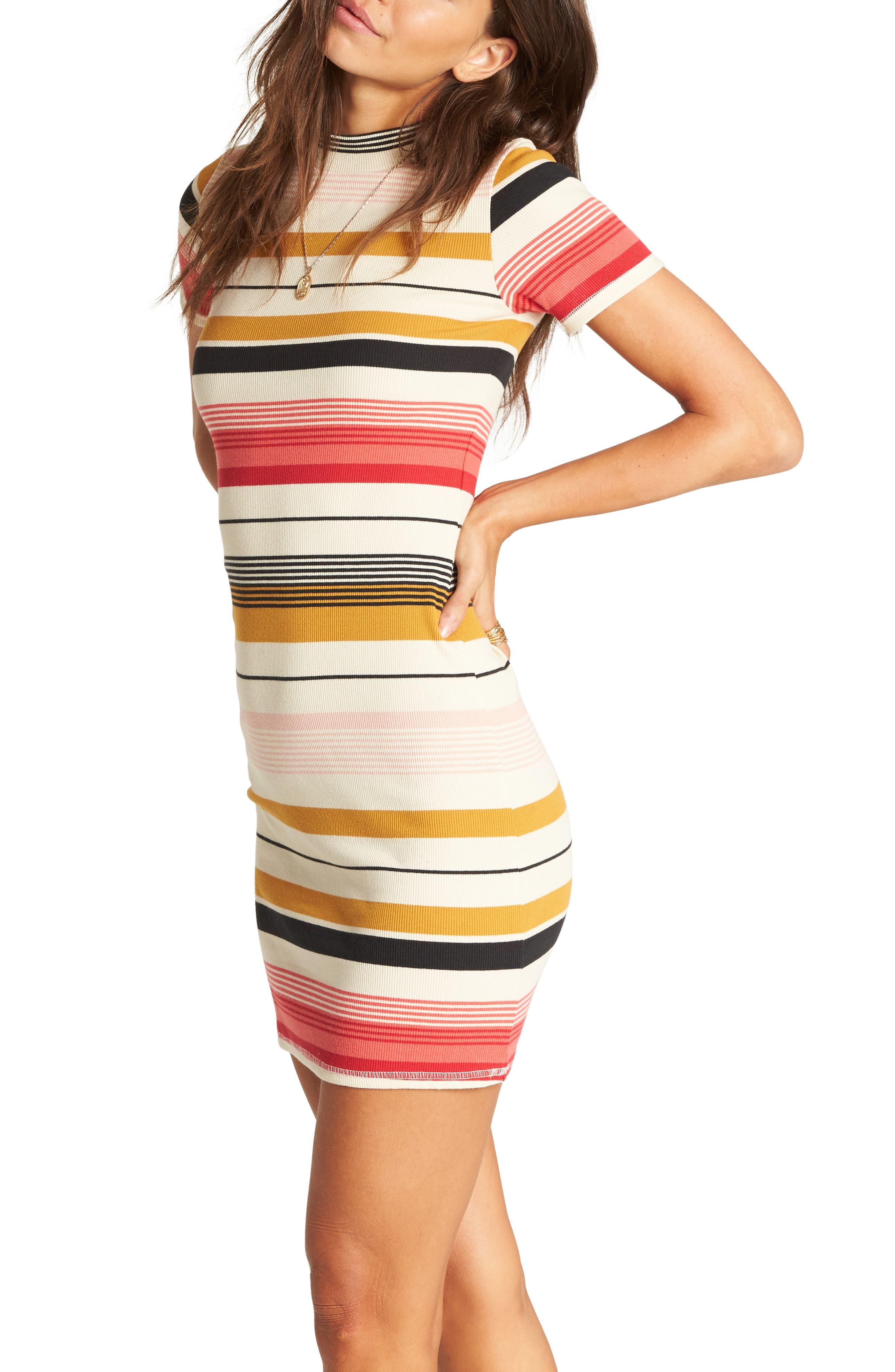 Stay Golden Body-Con Dress,                             Alternate thumbnail 3, color,                             MULTI
