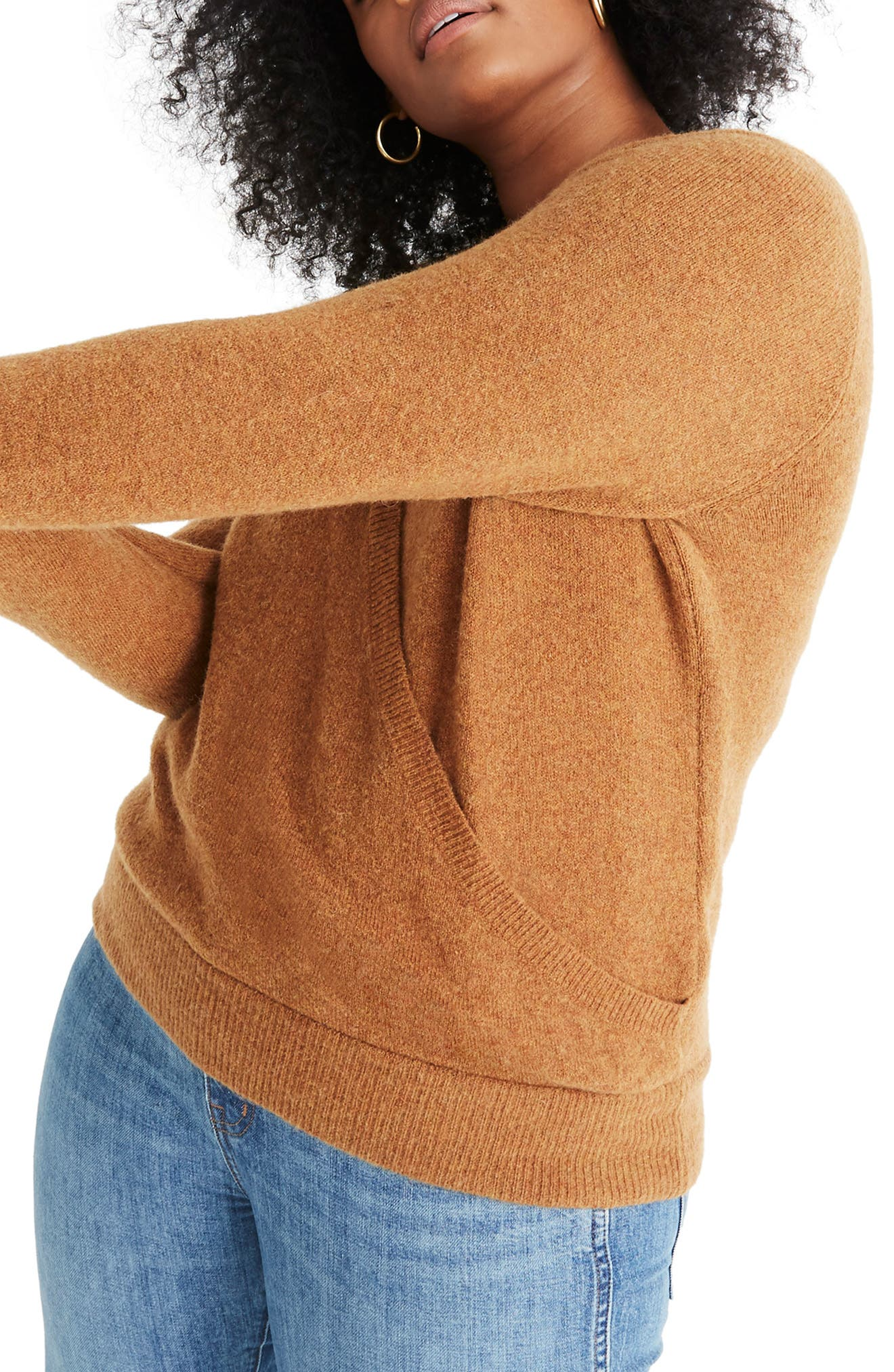 Faux Wrap Pullover Sweater,                             Alternate thumbnail 7, color,                             HEATHER HARVEST