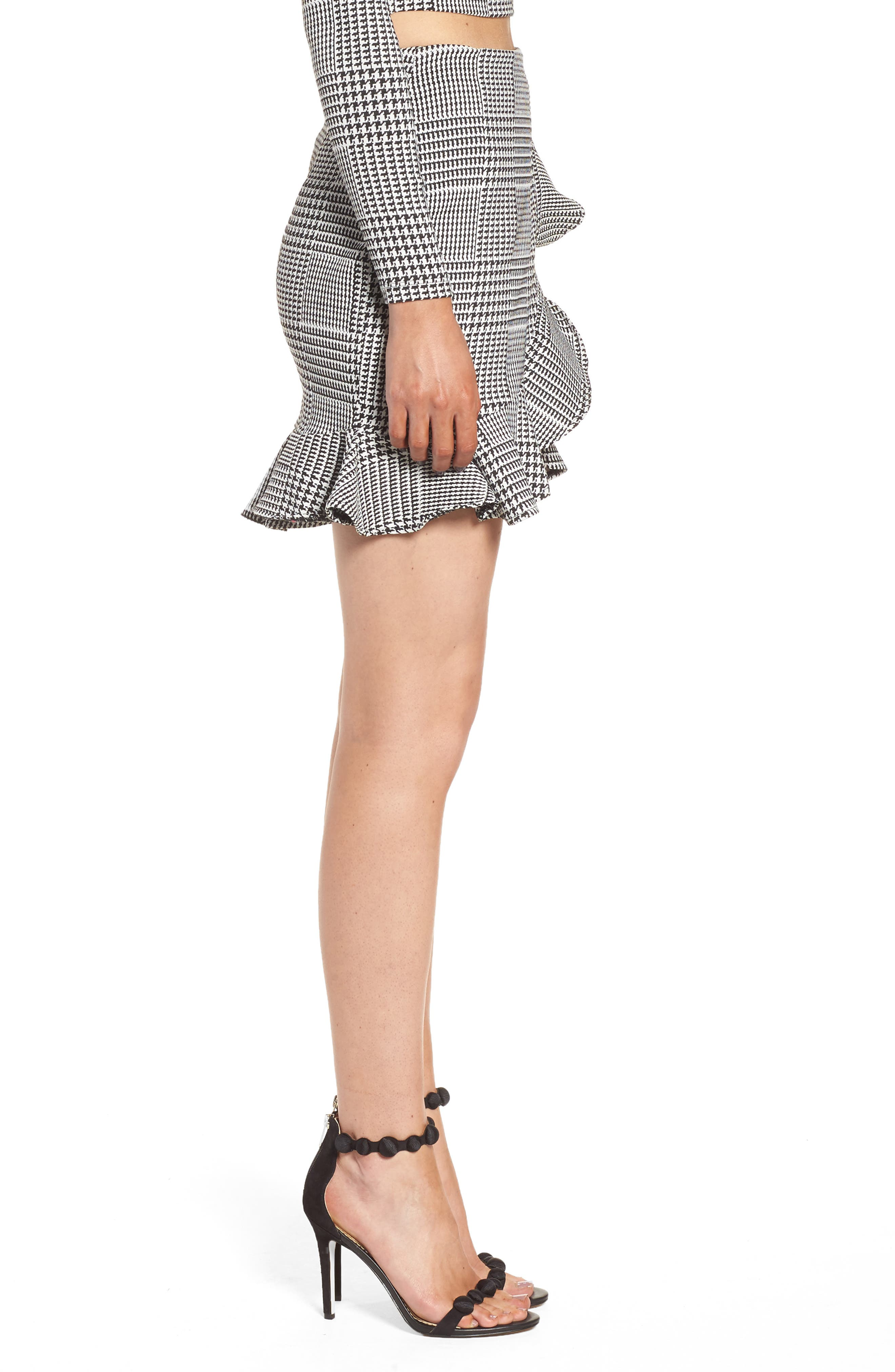 Affection Ruffle Houndstooth Skirt,                             Alternate thumbnail 3, color,                             020