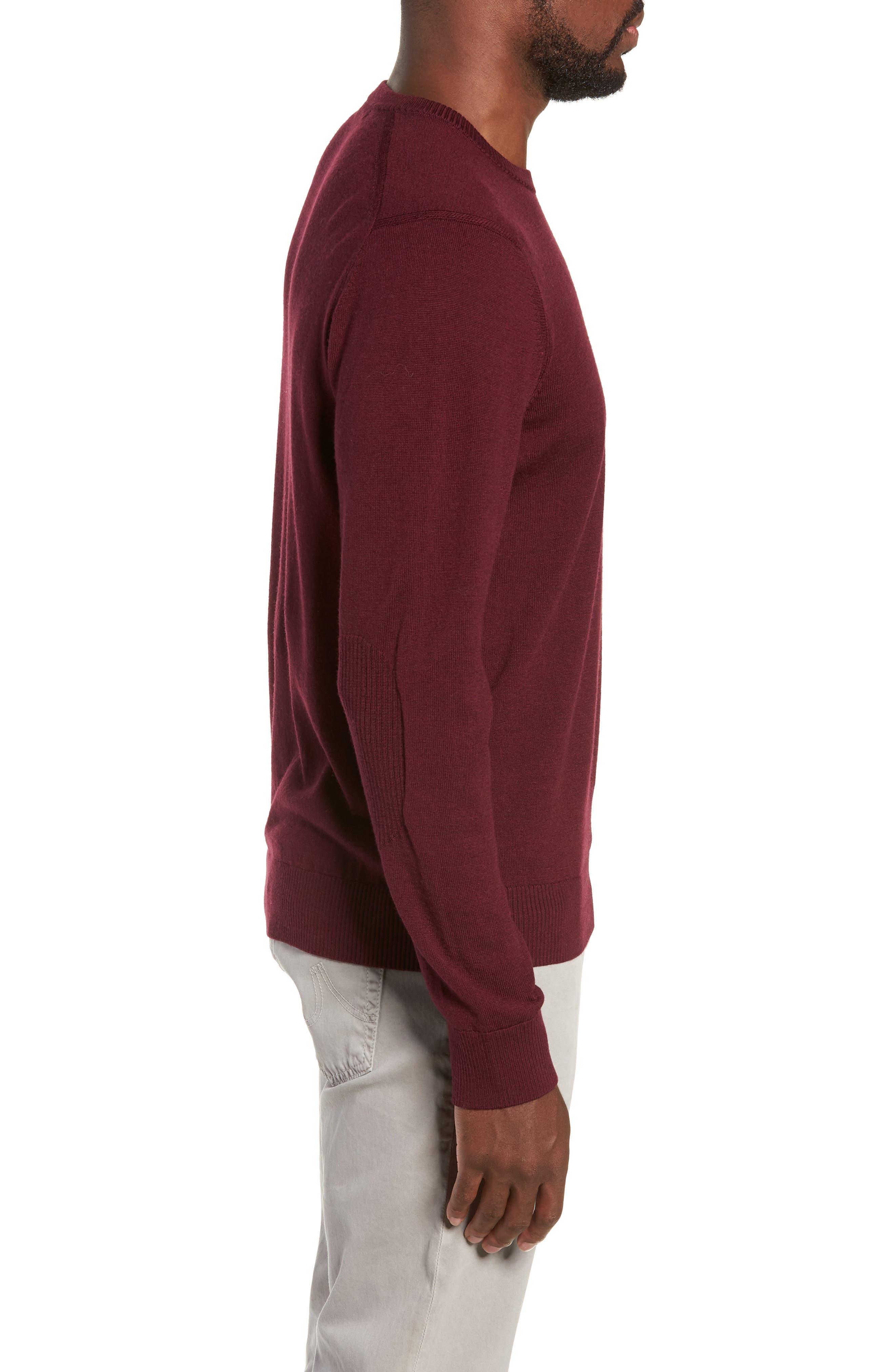 Heart Intarsia Regular Fit Merino Wool Sweater,                             Alternate thumbnail 3, color,                             BEETROOT