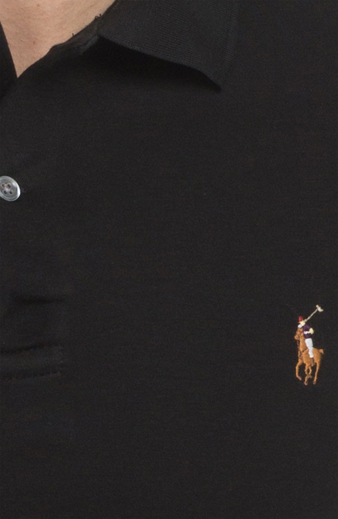 Classic Fit Long Sleeve Polo,                             Alternate thumbnail 2, color,                             001