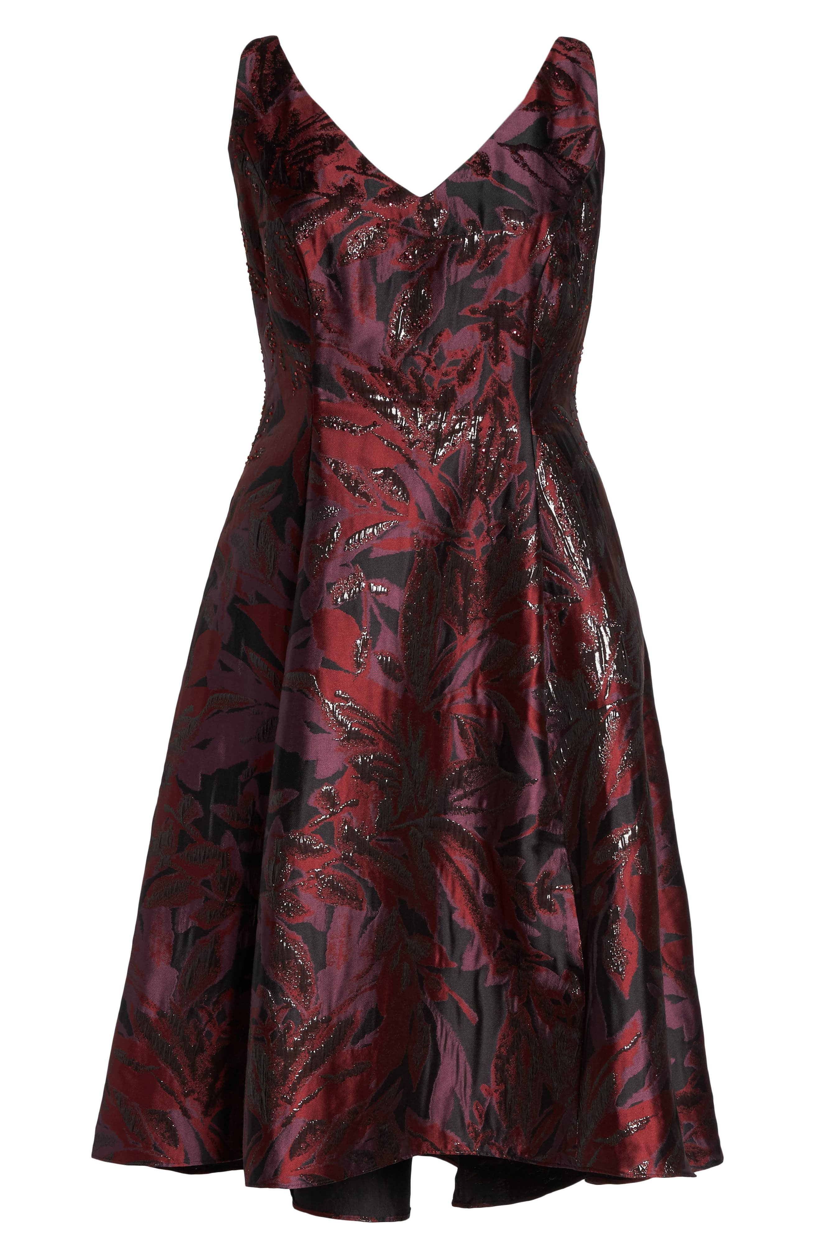 Metallic Floral Jacquard Fit & Flare Dress,                             Alternate thumbnail 6, color,                             641