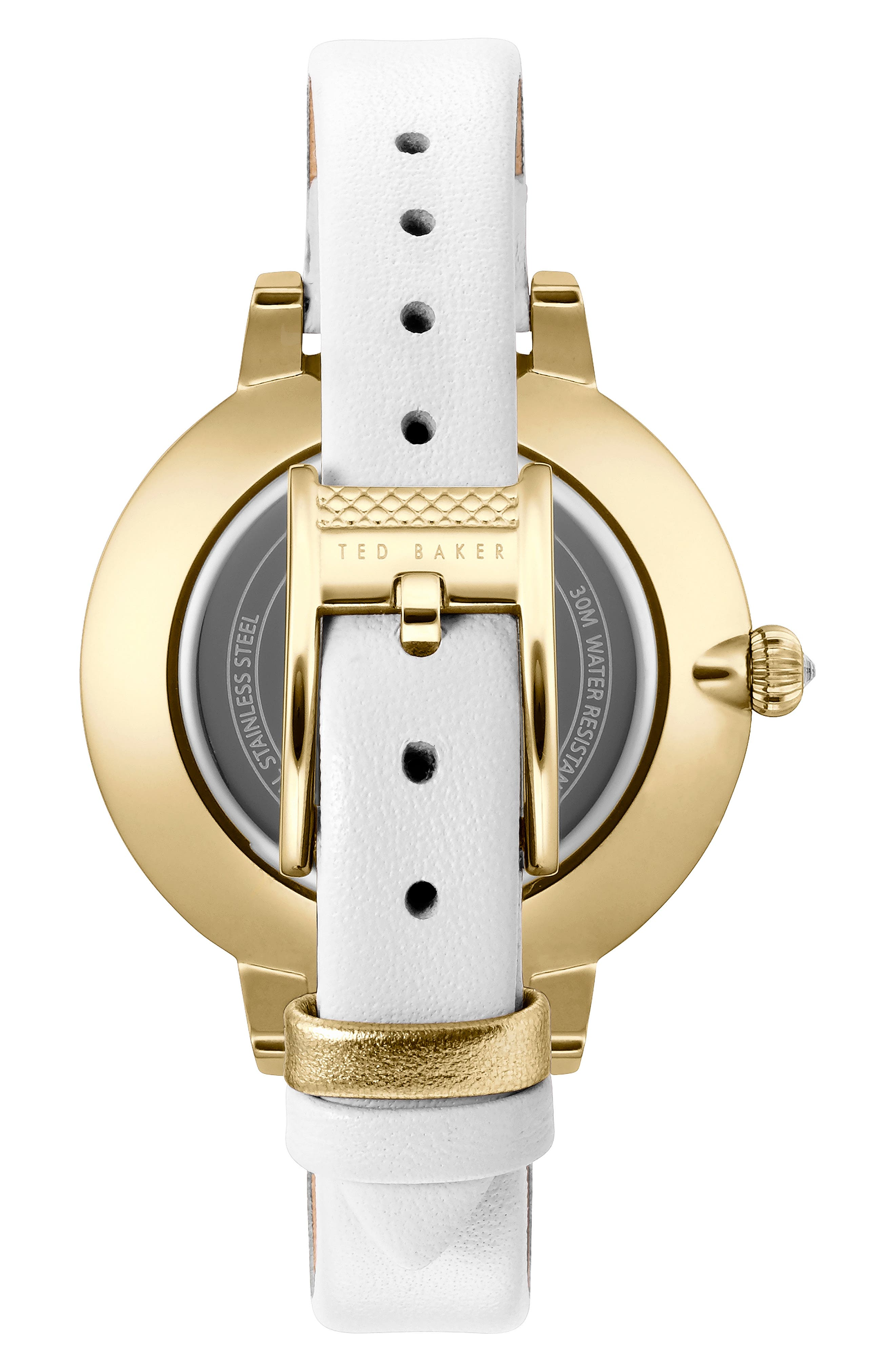 Kate Leather Strap Watch, 36mm,                             Alternate thumbnail 2, color,                             WHITE/ MOP/ GOLD