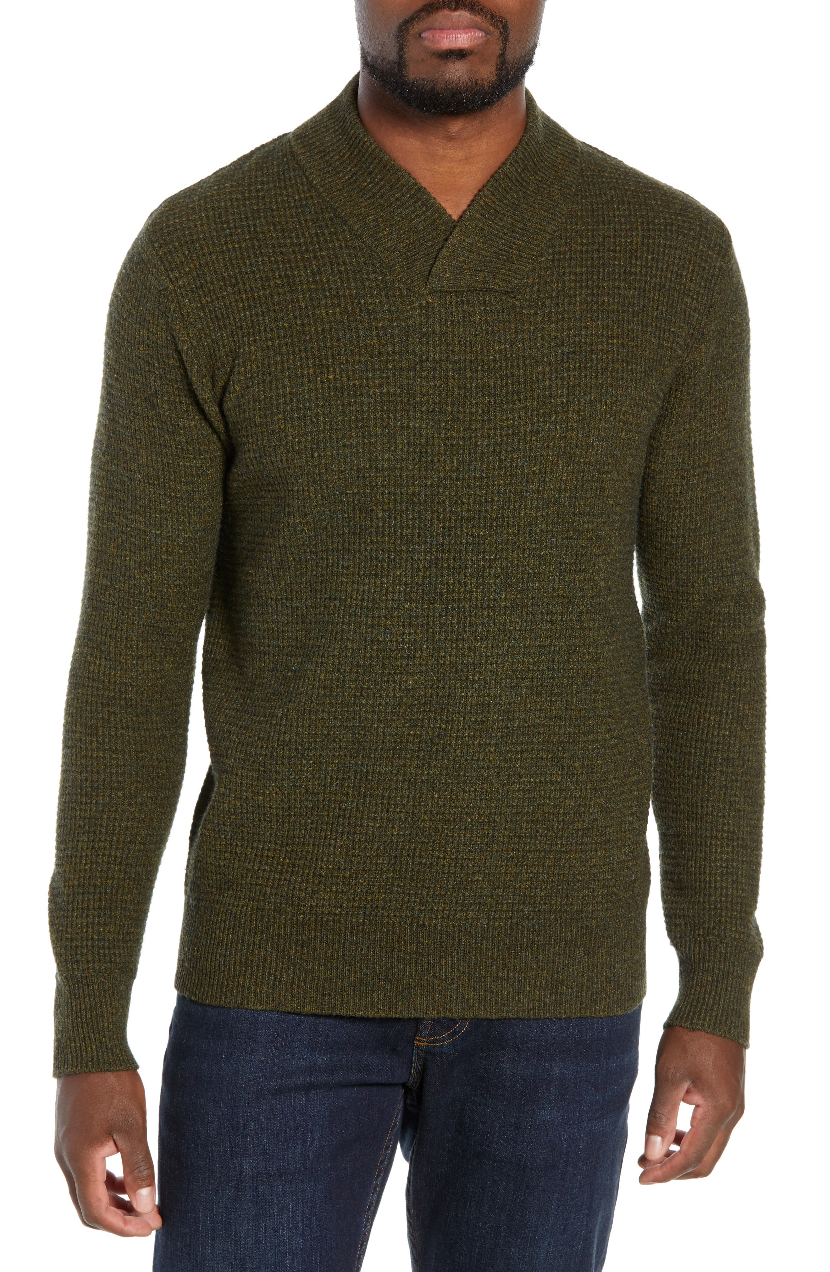 Schott Nyc Waffle Knit Thermal Wool Blend Pullover, Green