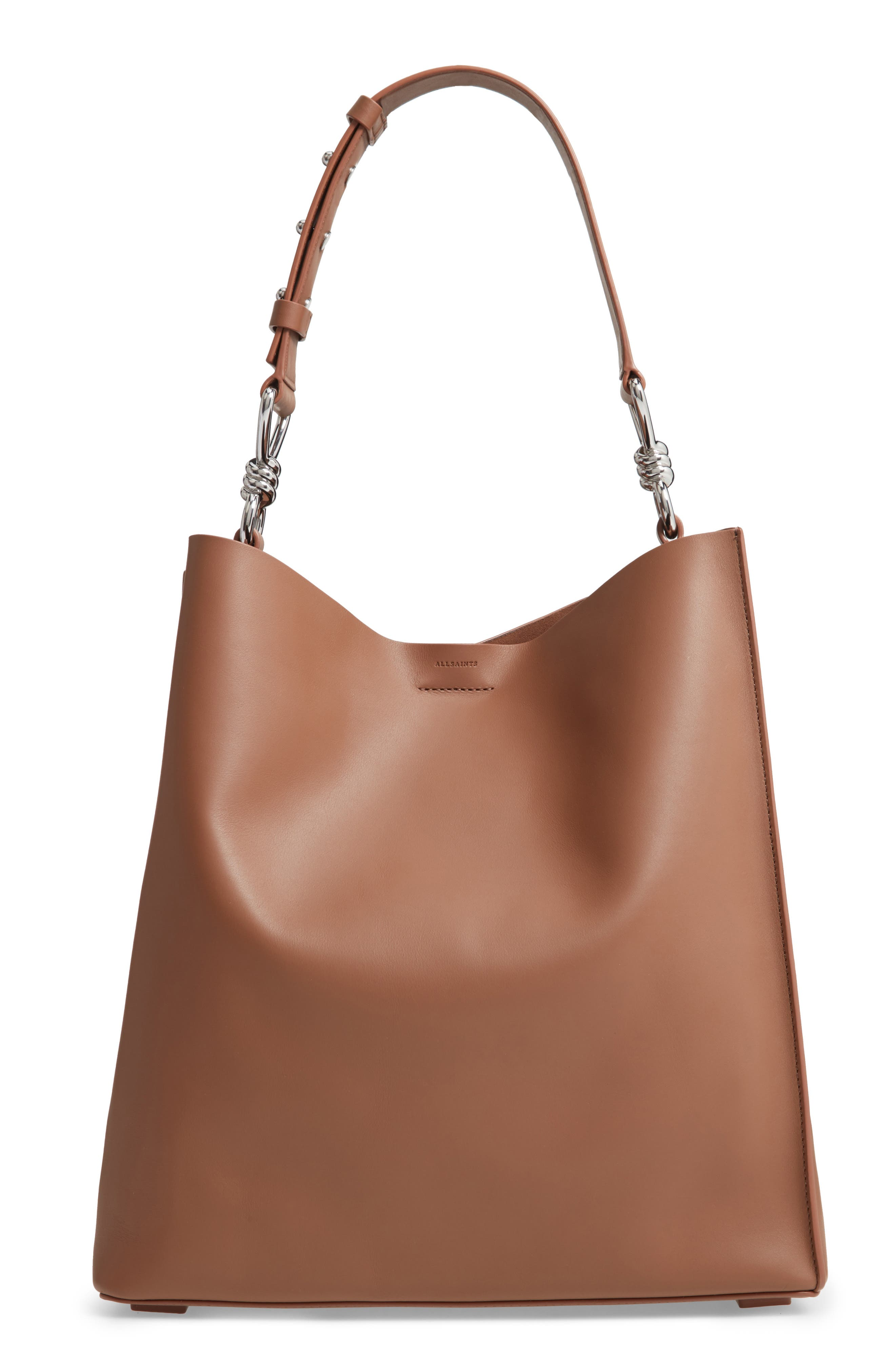 Captain Leather Tote, Main, color, MILK CHOCOLATE