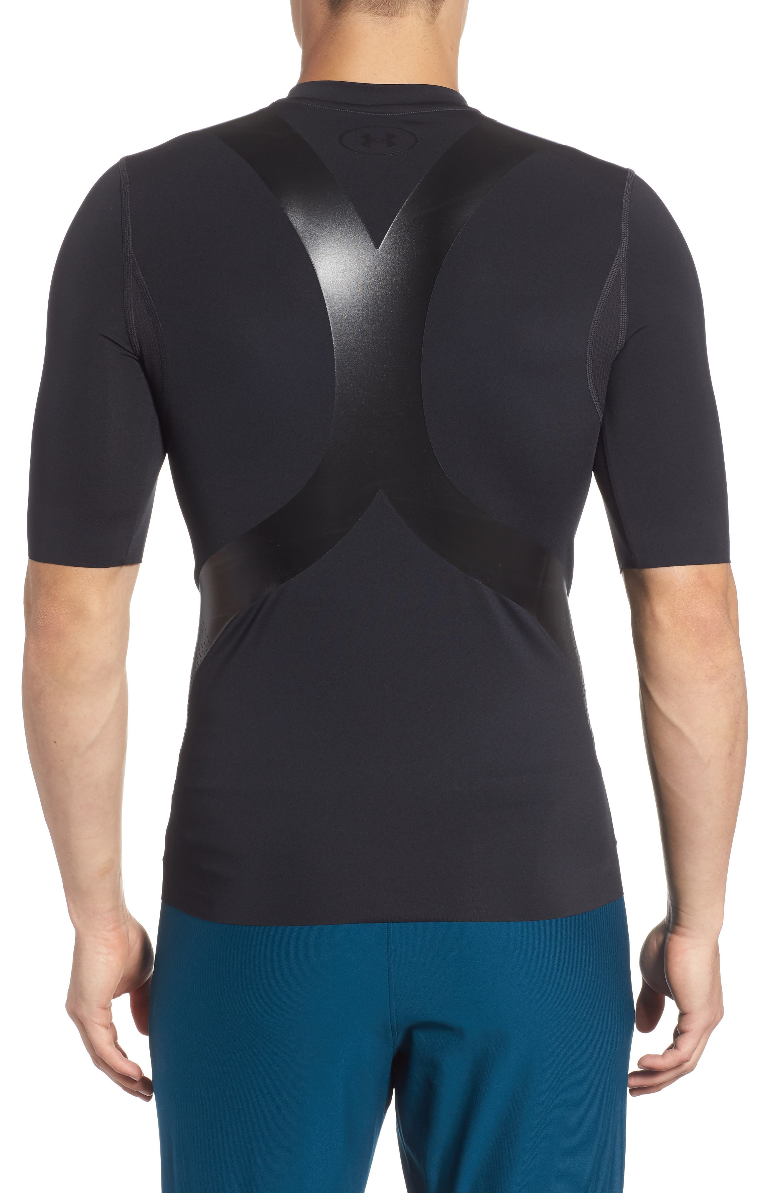 Perpetual Half Sleeve Fitted Shirt,                             Alternate thumbnail 2, color,                             BLACK