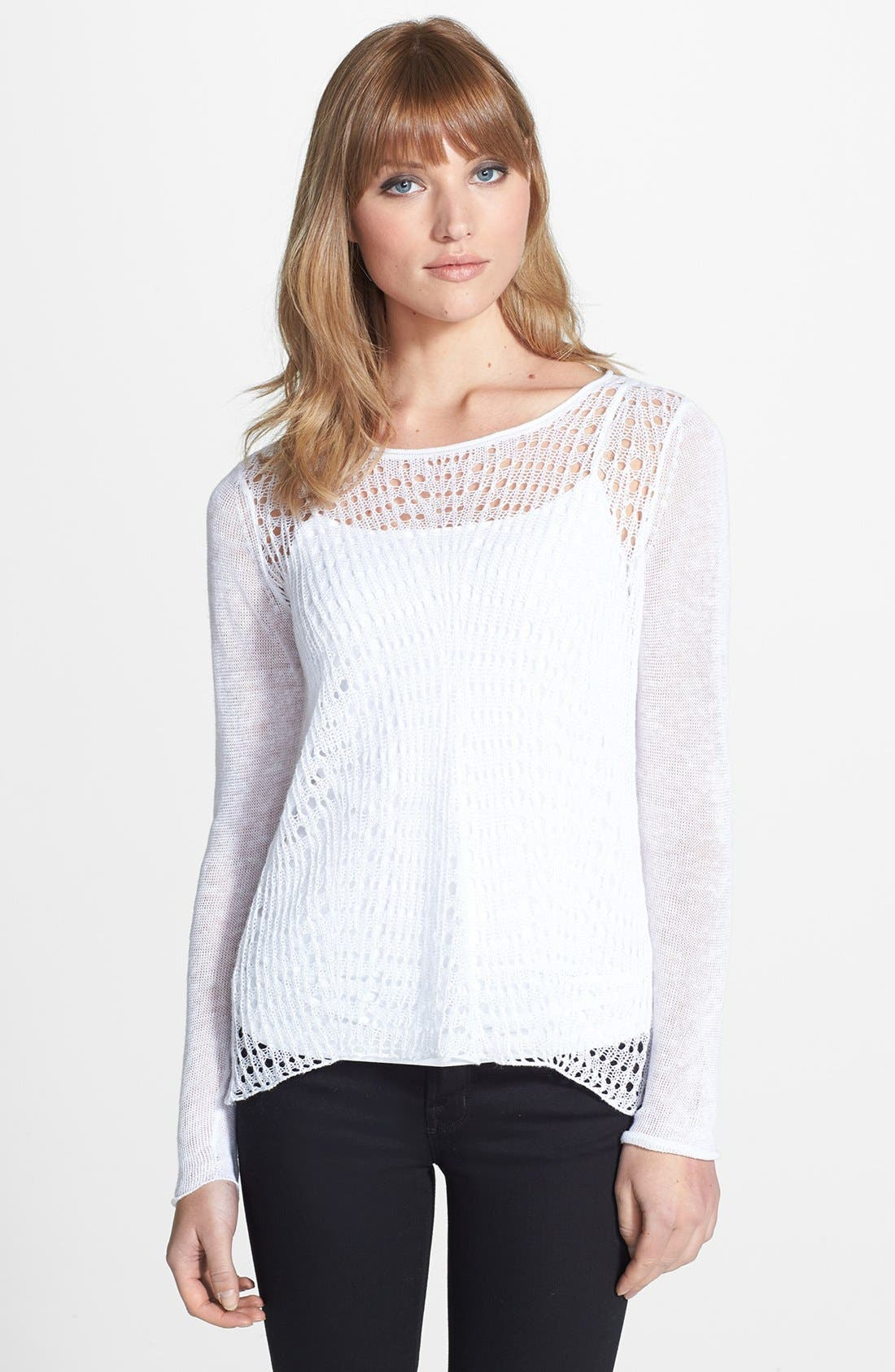 Open Stitch Scoop Neck Sweater,                             Main thumbnail 1, color,                             100