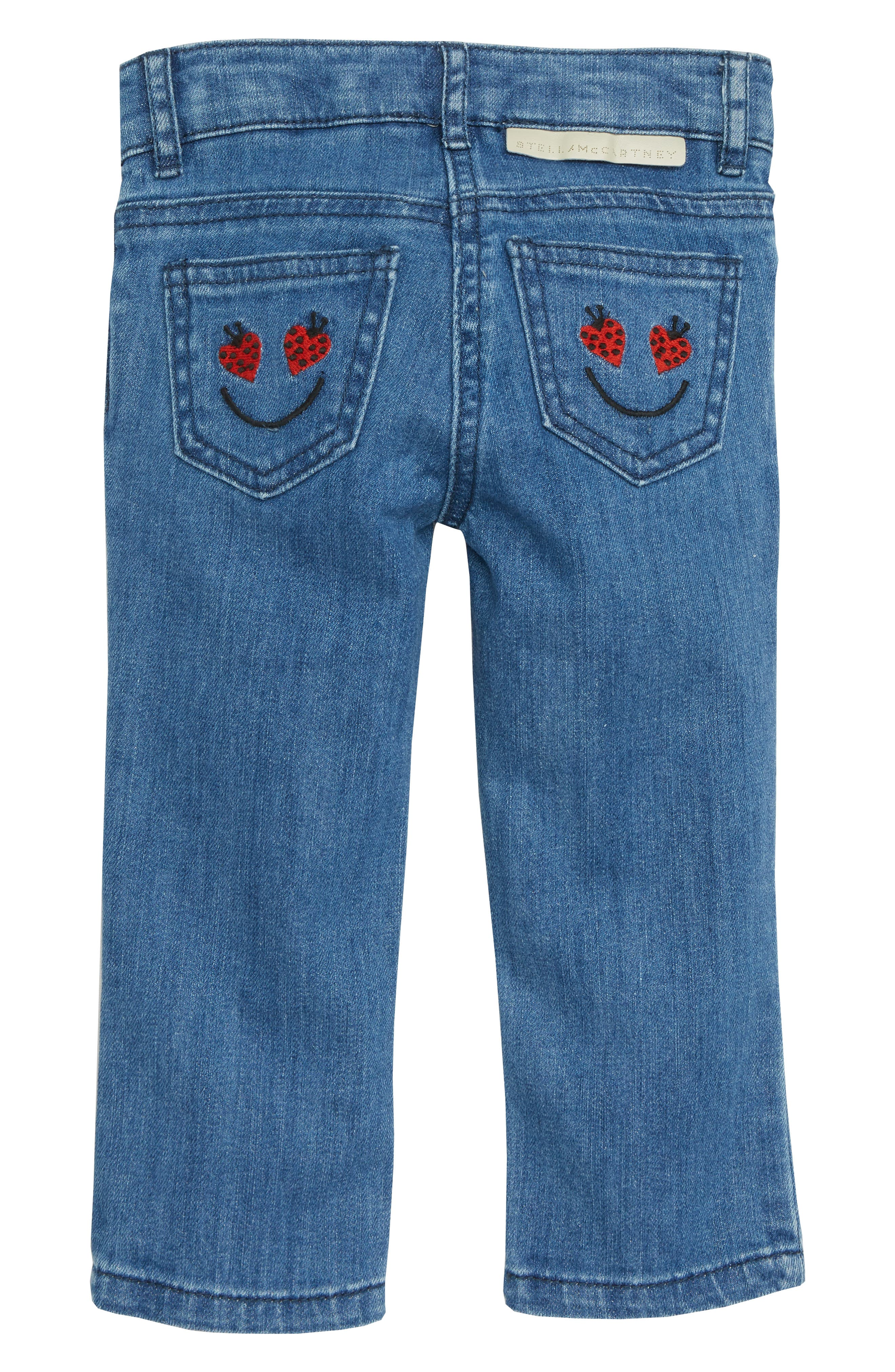 Heart Patch Straight Leg Jeans,                             Alternate thumbnail 2, color,                             BLUE