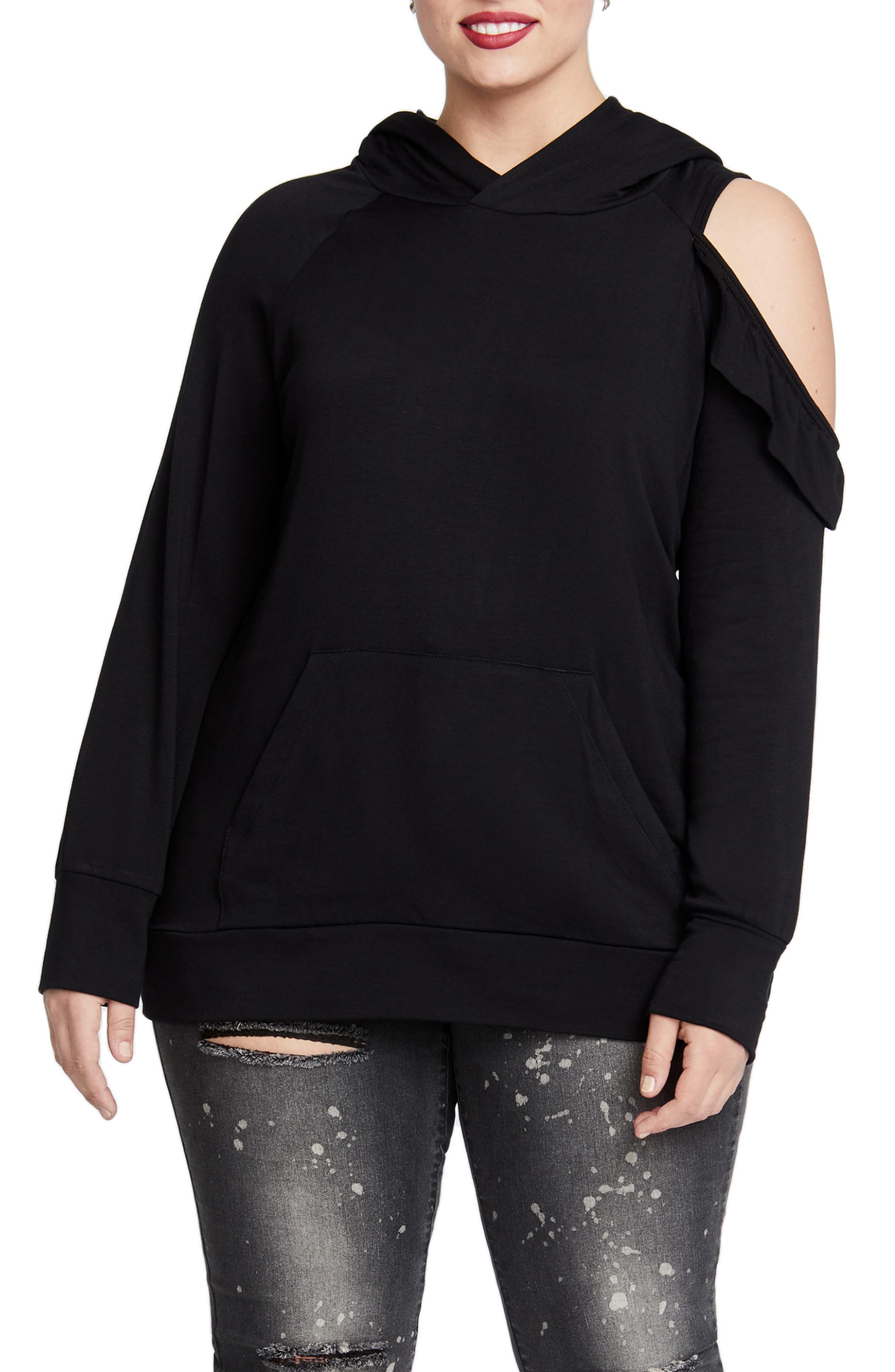Cold Shoulder Hooded Sweatshirt,                         Main,                         color, BLACK