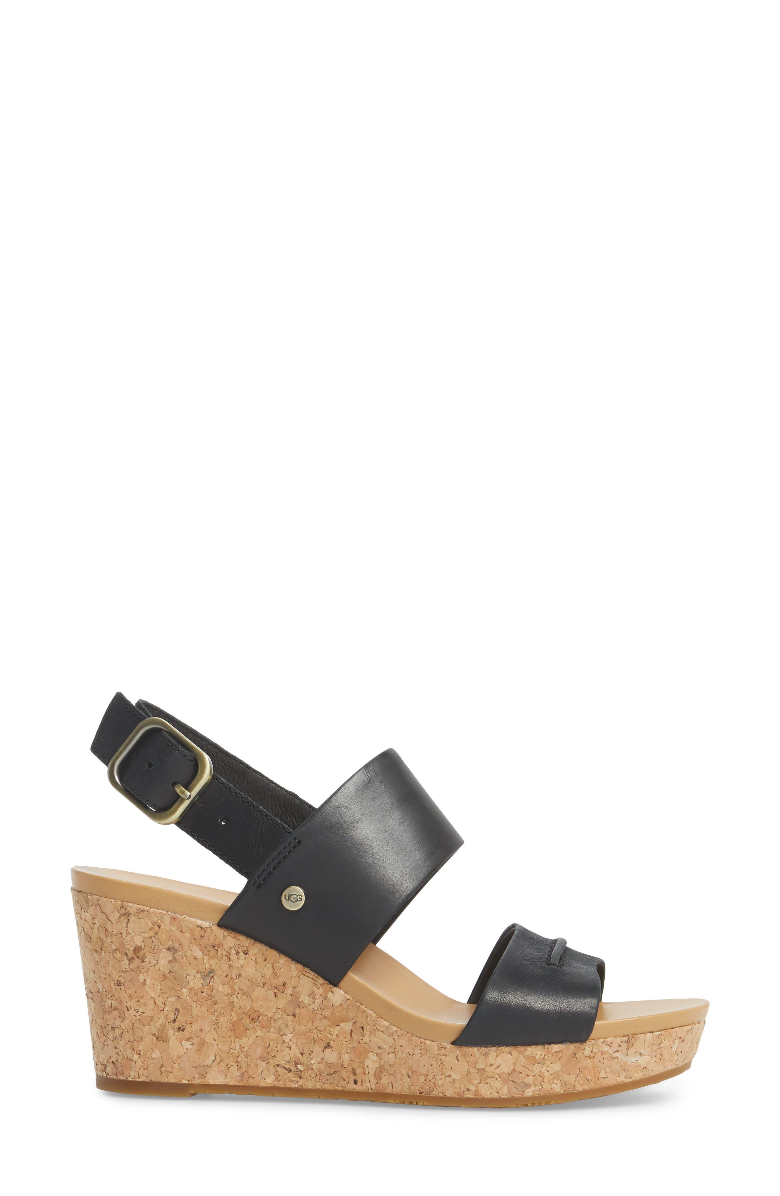 Elena II Platform Wedge Sandal,                             Alternate thumbnail 3, color,                             001